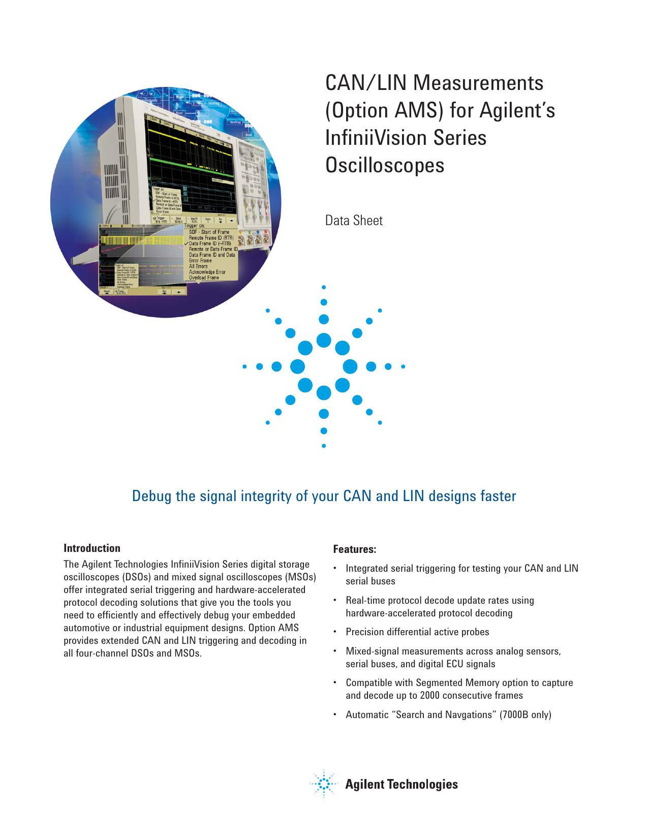 CAN/LIN Measurements (Option AMS) for Agilent`s