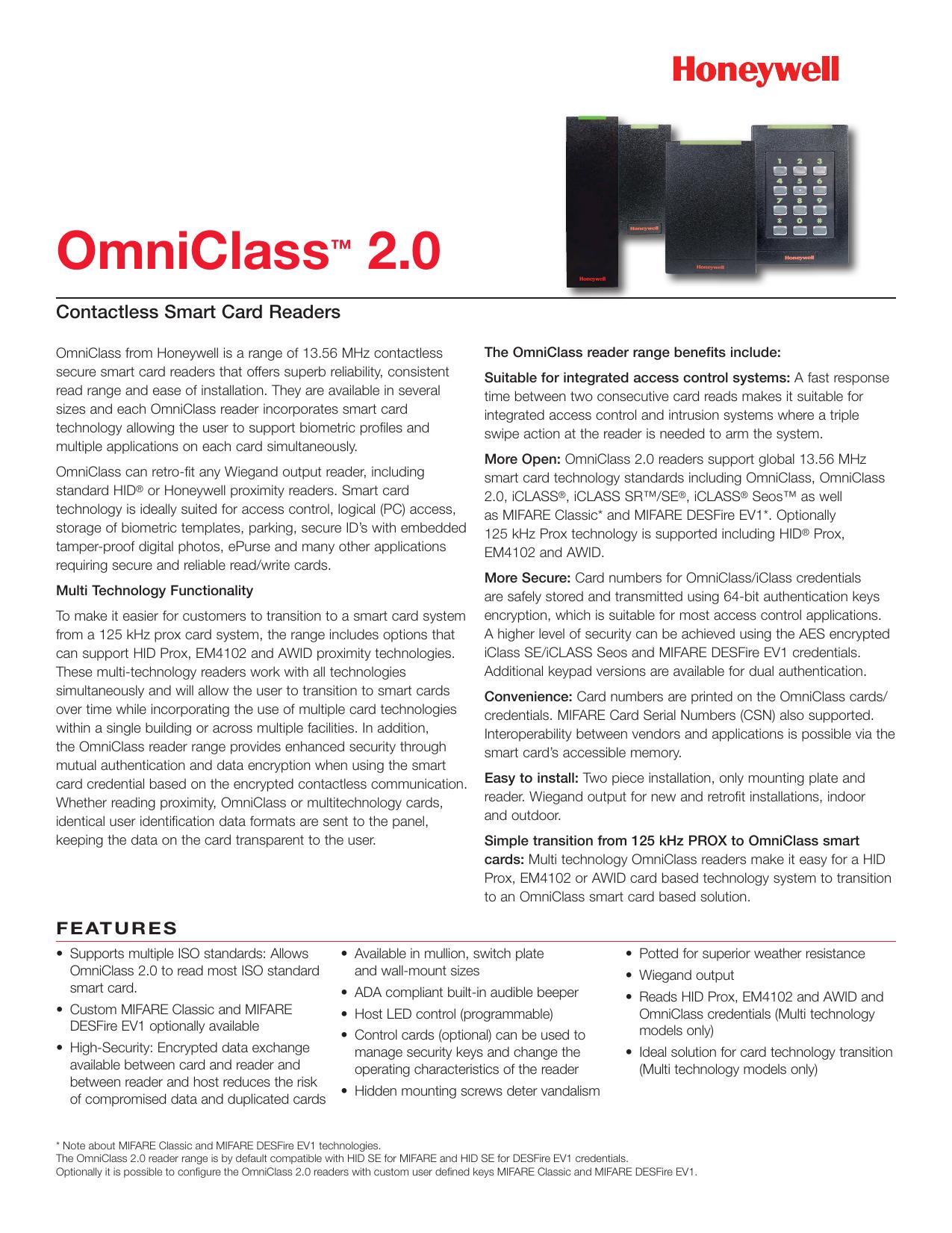 Honeywell OmniClass 2.0 OM56BHOND Contactless  Smart Card Reader w// Keypad