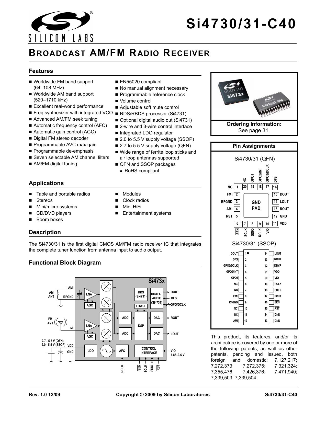 Si4730 31 C40 Data Sheet Super Afc 2wire Diagram