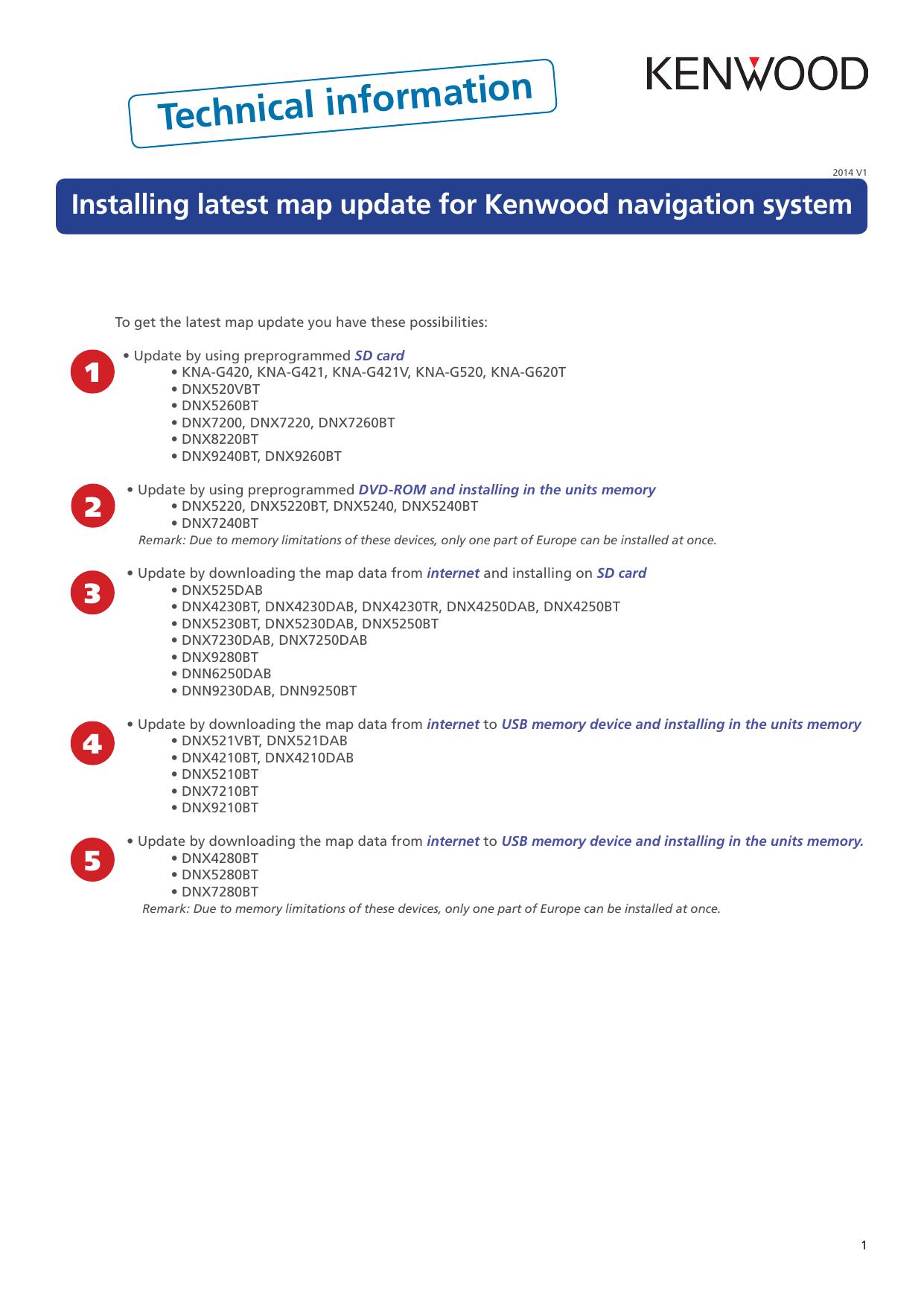 Installing latest map update for Kenwood navigation | manualzz com