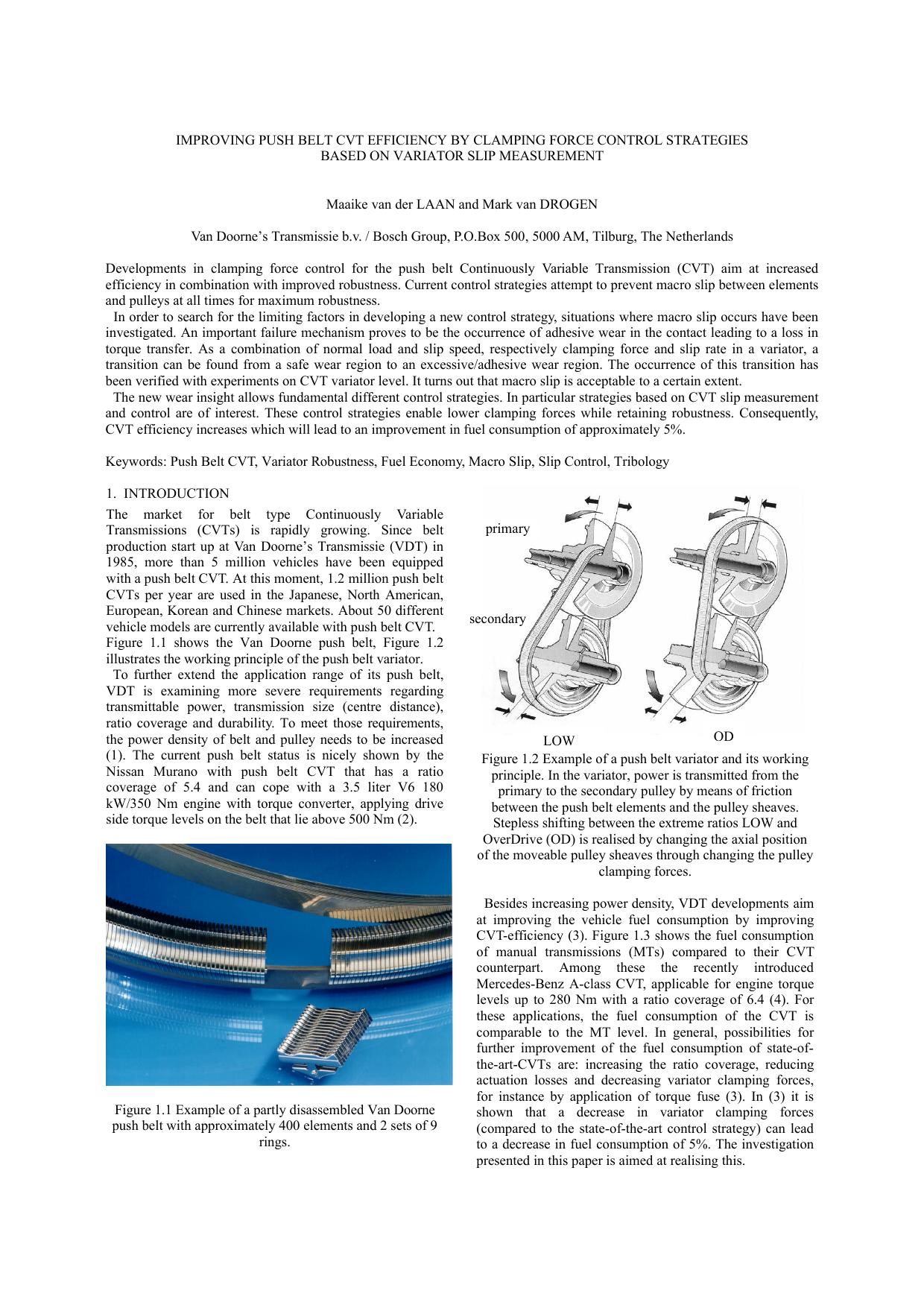 IMPROVING PUSH BELT CVT EFFICIENCY BY CLAMPING FORCE | manualzz com
