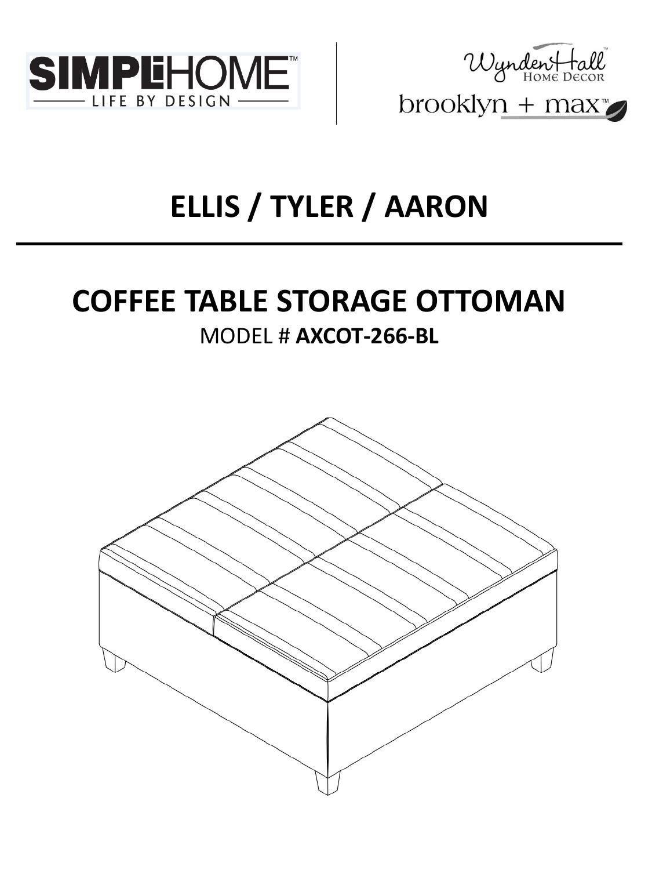 Miraculous Ellis Tyler Aaron Coffee Table Storage Ottoman Inzonedesignstudio Interior Chair Design Inzonedesignstudiocom