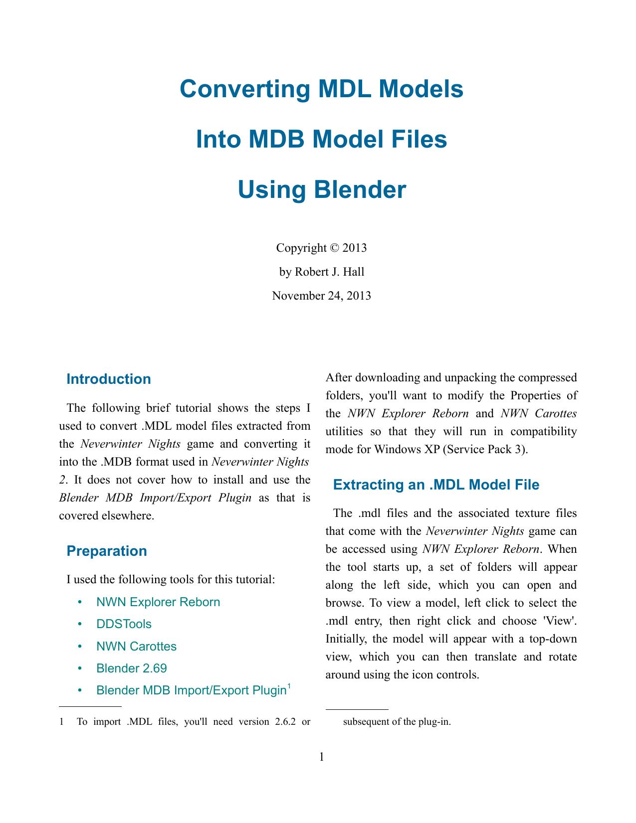 Converting MDL Models Into MDB Model Files Using Blender