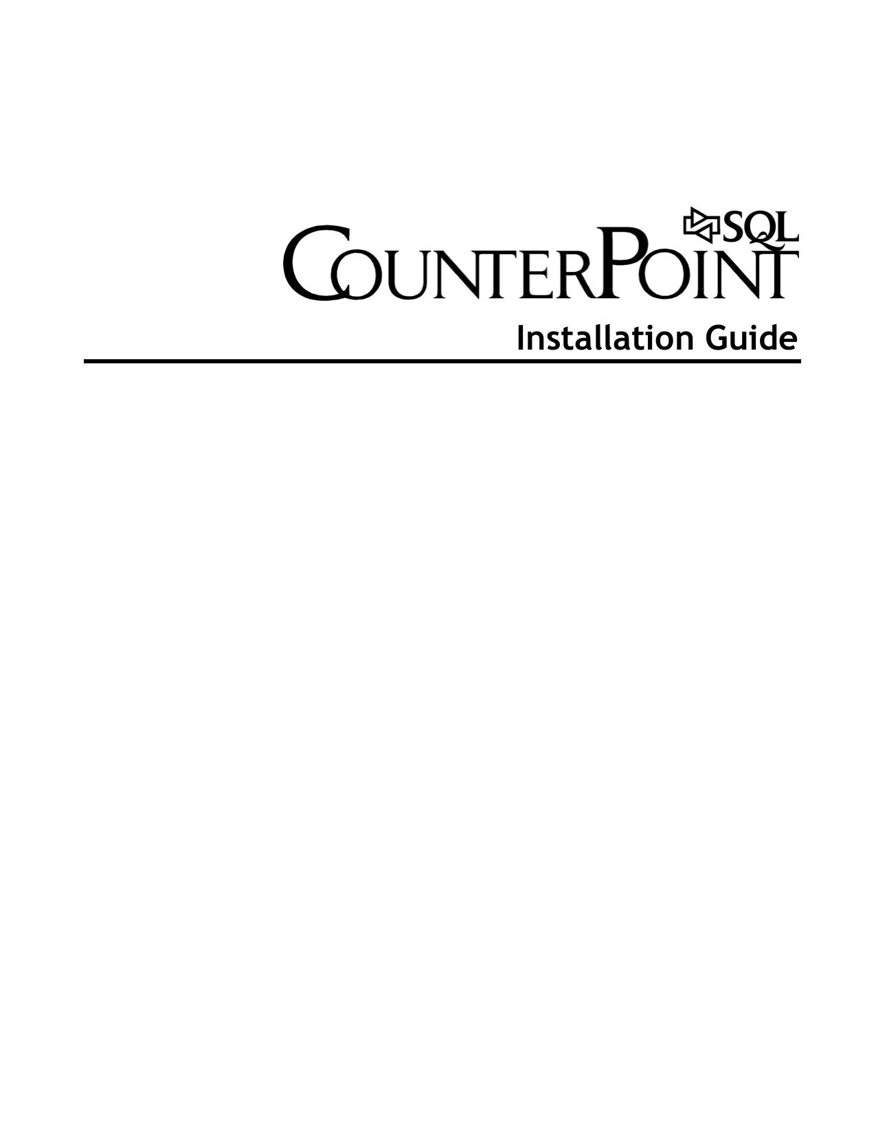 CounterPoint SQL Installation Guide | manualzz com