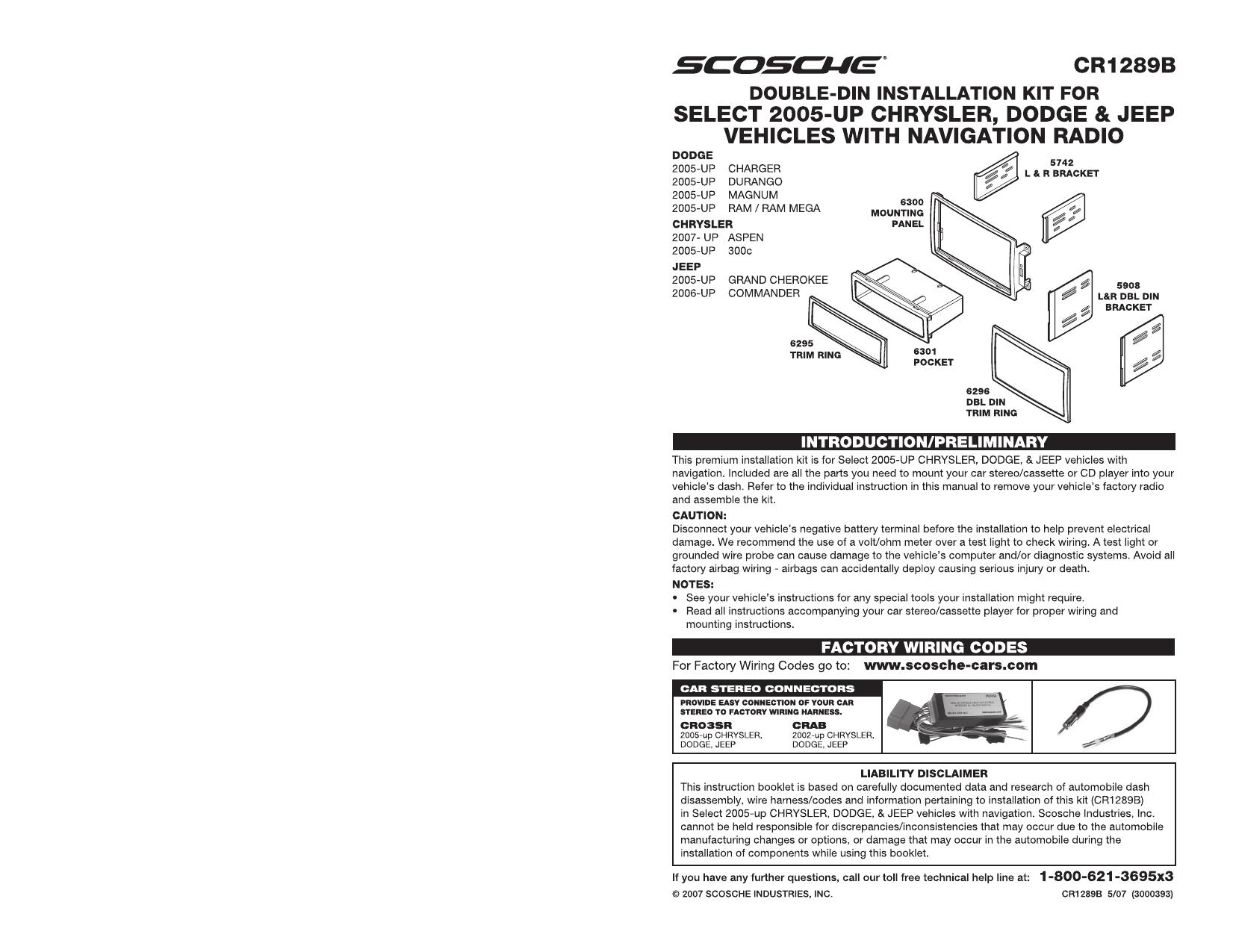 SCOSCHE CR05B 2002-07 Select Chrysler//Dodge Amp Integration Harness