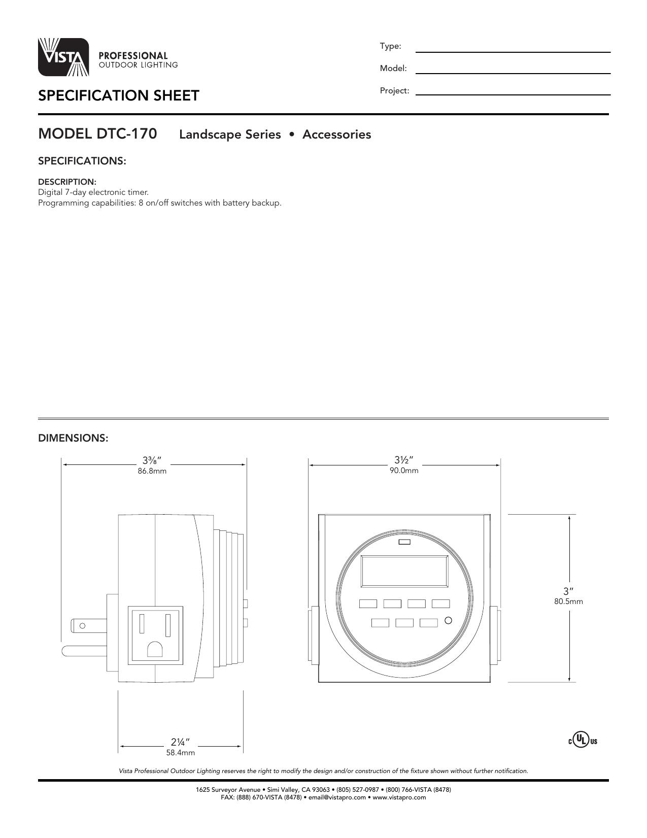 Specification Sheet Vista Professional Outdoor Lighting