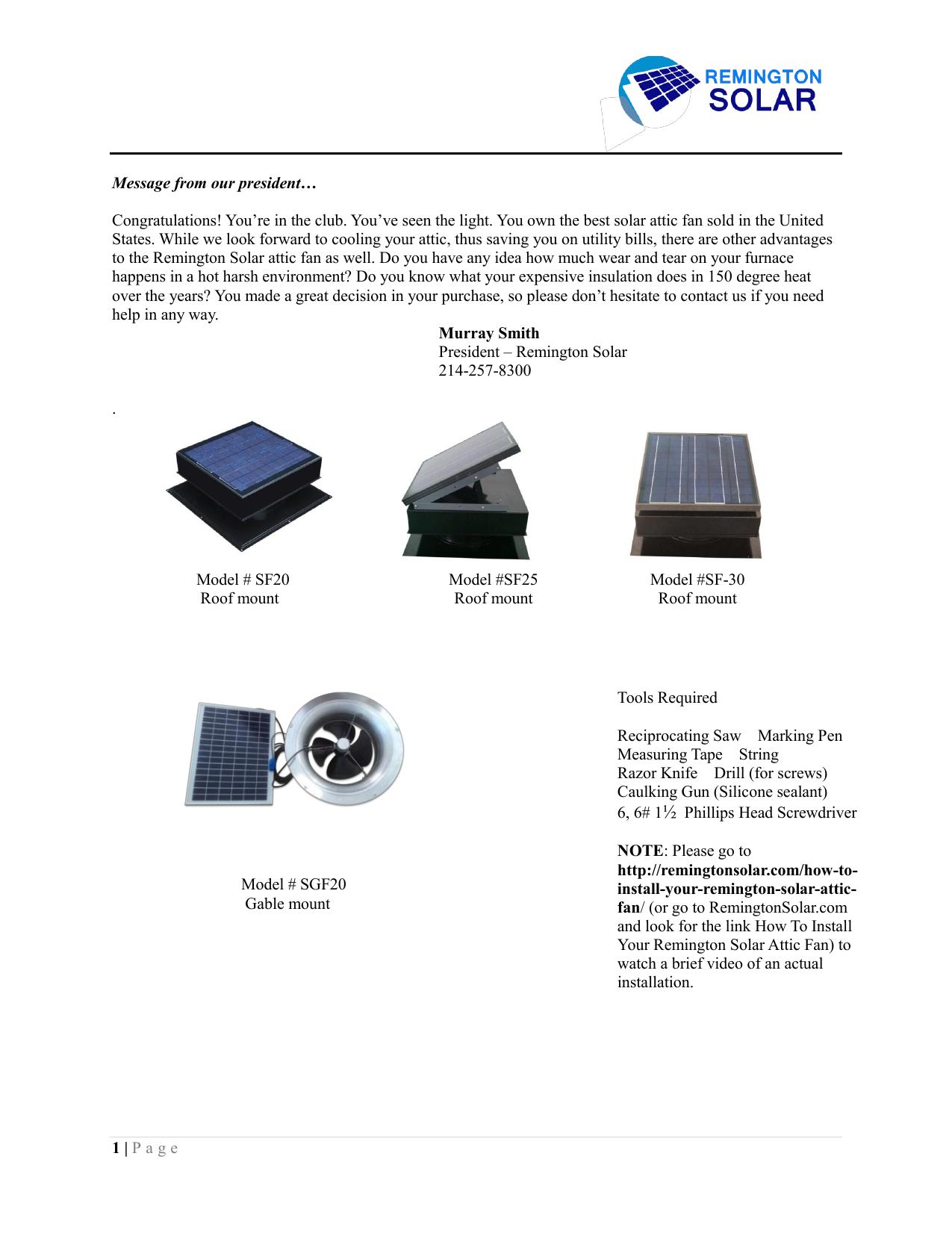 Solar Attic Fan - Remington Solar | Manualzzmanualzz