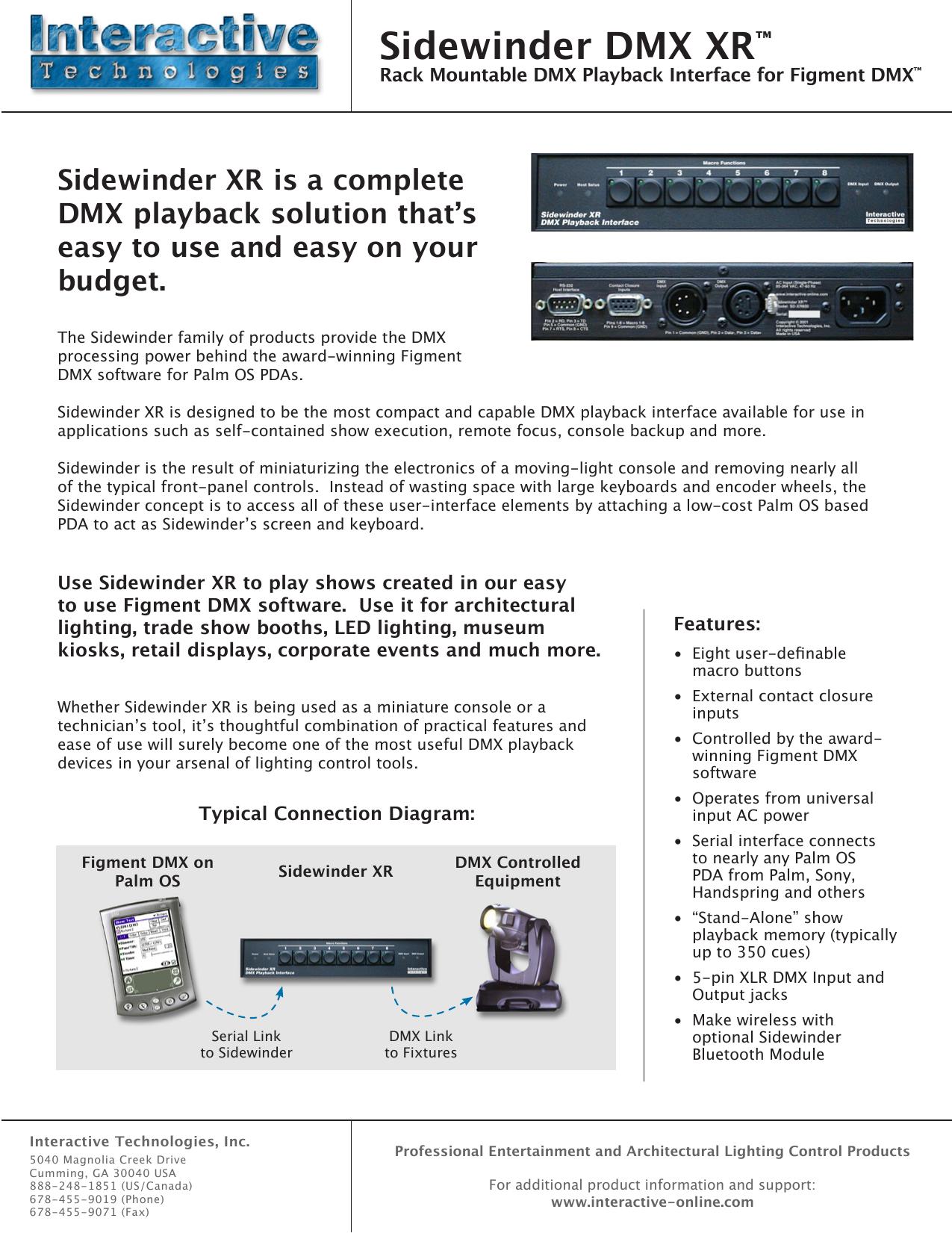 Sidewinder DMX XR - Interactive Technologies, Inc