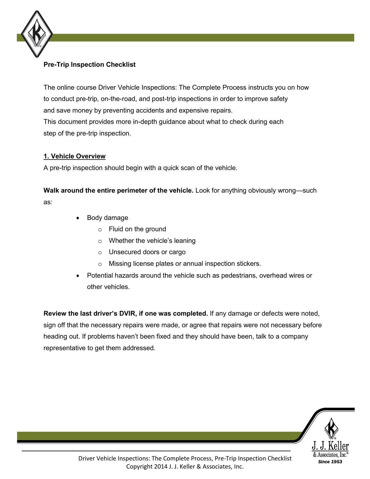 Driver Vehicle Inspections - JJ Keller® Training Portal