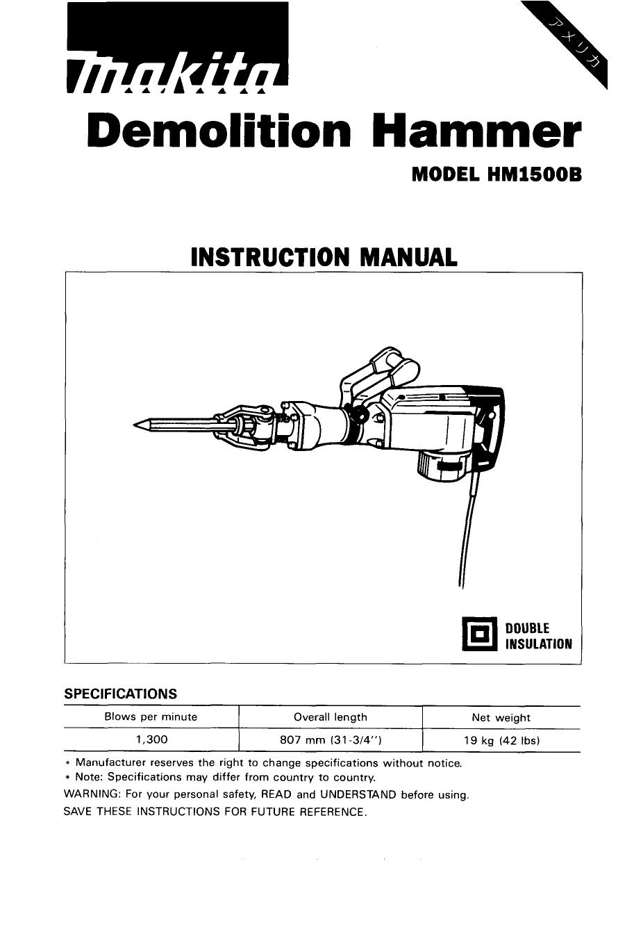 Demolition Hammer | manualzz.com on makita hammer grease, makita hm1500b, makita jack hammer, makita demo hammer parts,