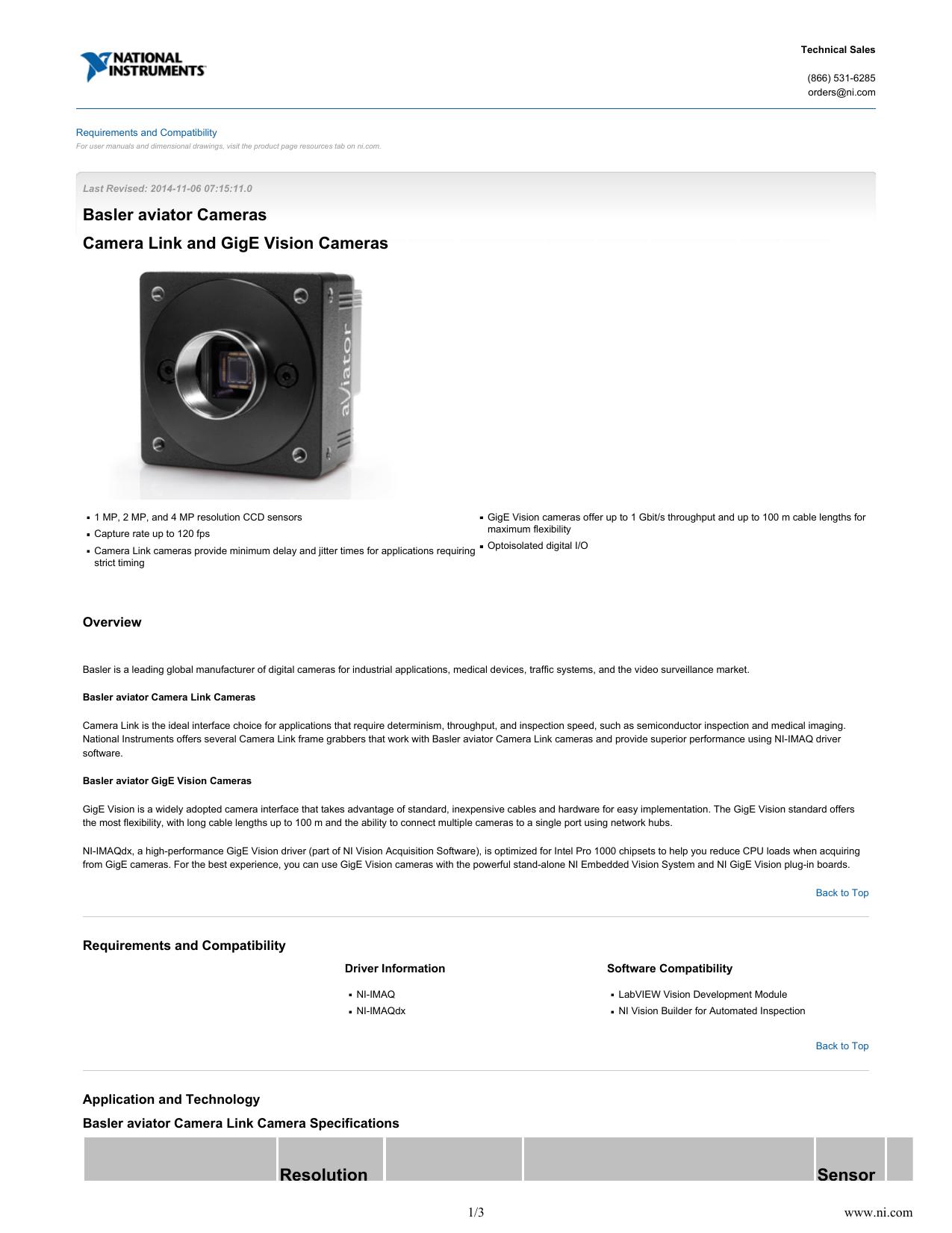 Basler aviator Cameras - Data Sheet | manualzz com