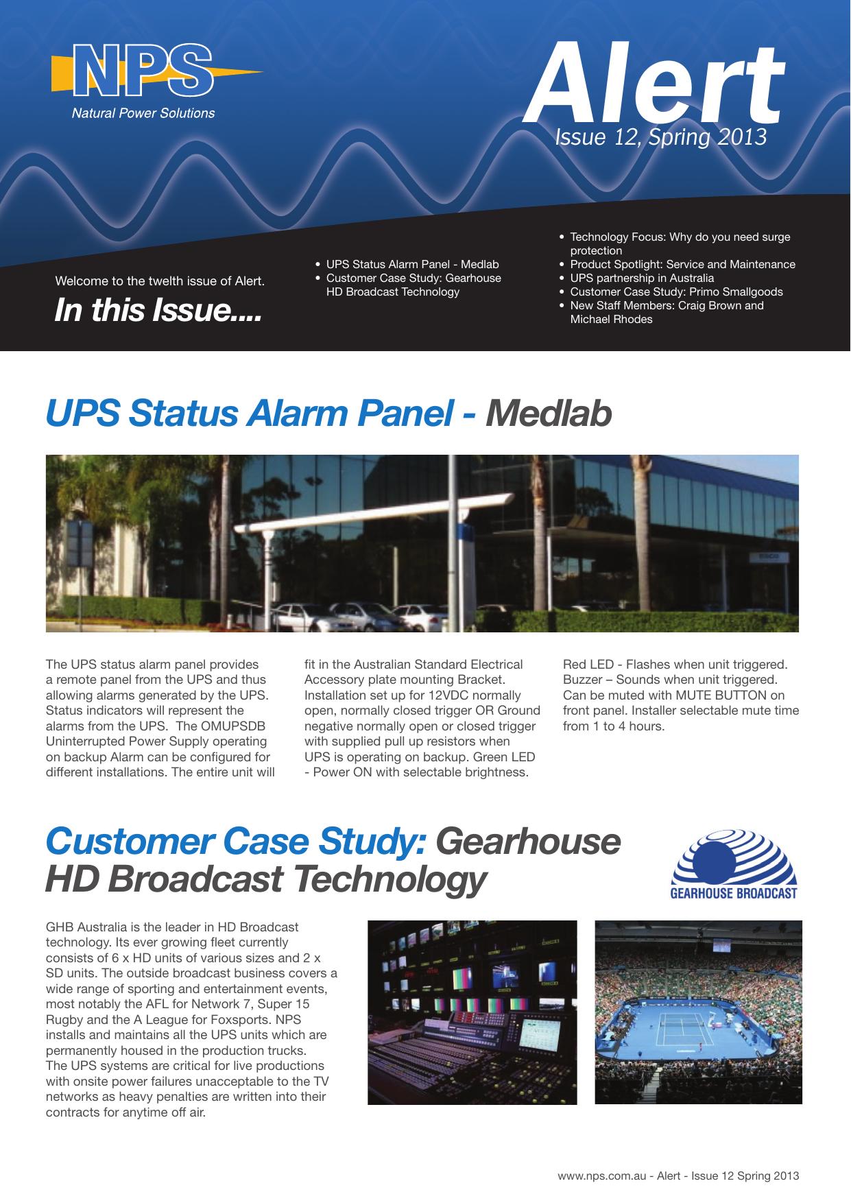 UPS Status Alarm Panel - Natural Power Solutions | manualzz com
