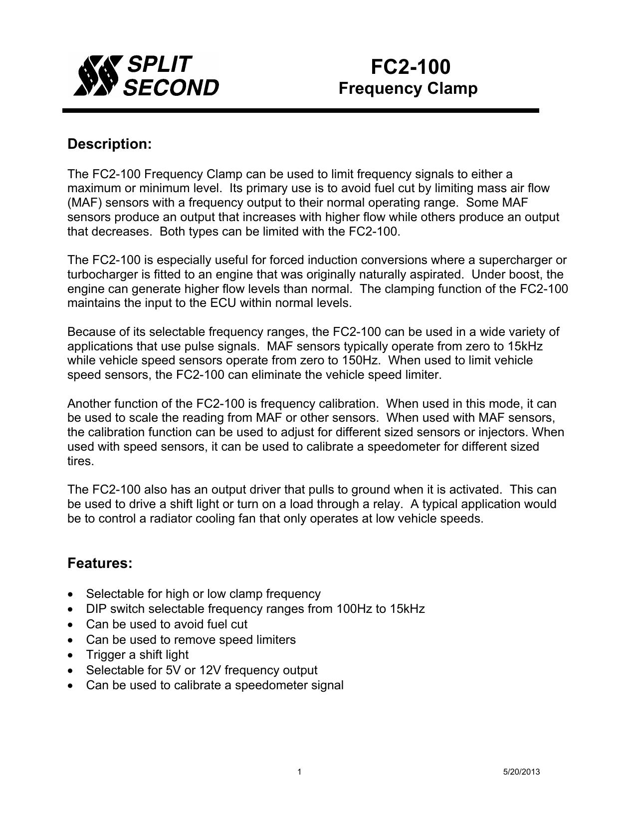 FC2-100 Frequency Clamp Data Sheet | manualzz com
