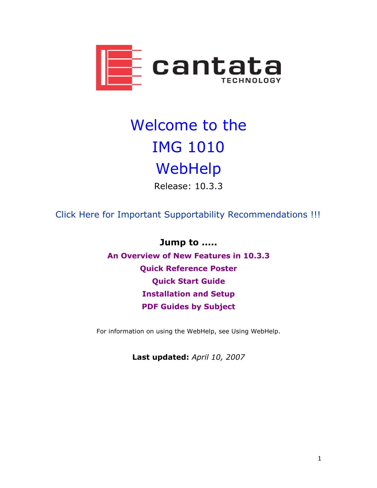 Welcome to the IMG 1010 WebHelp | manualzz com