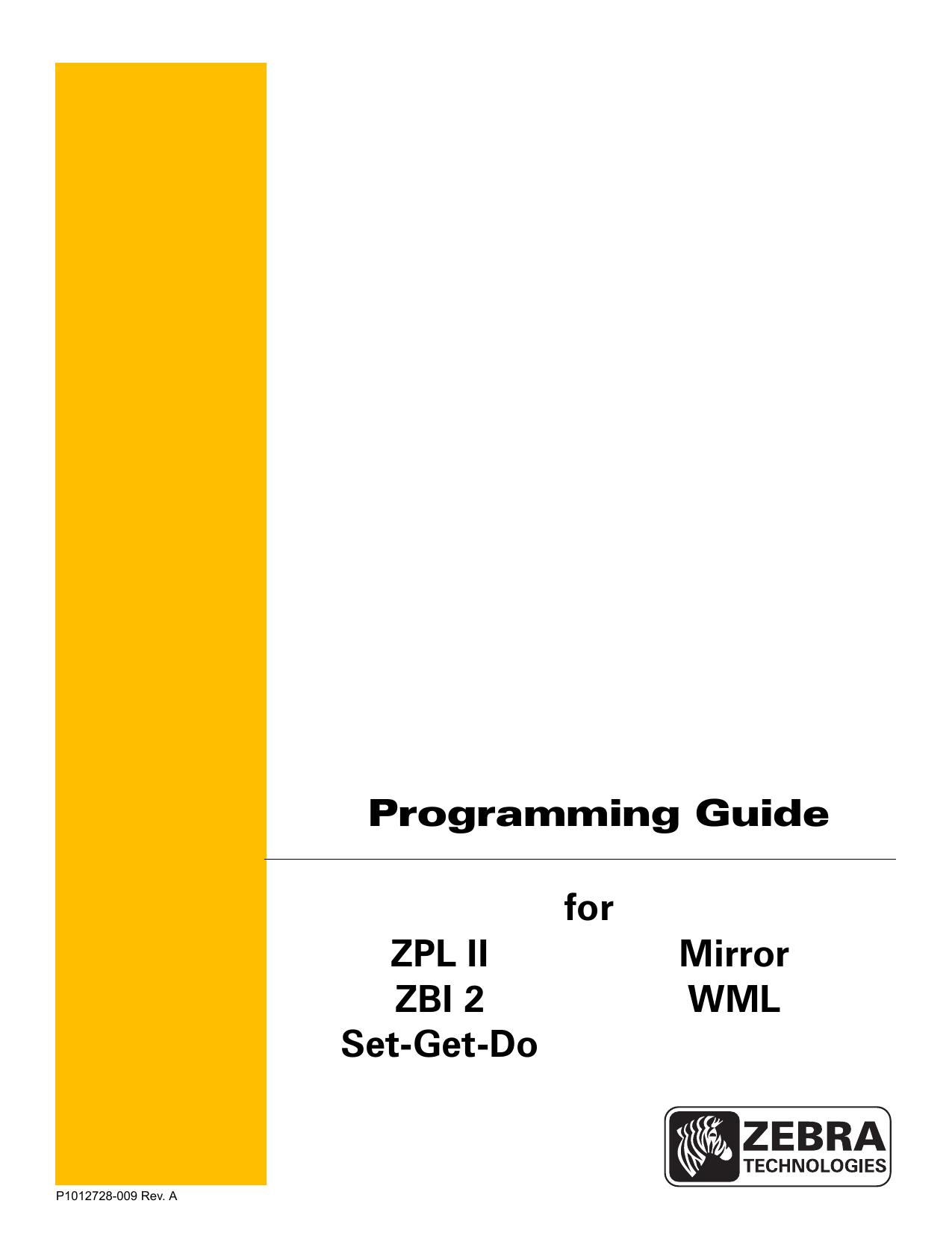 for ZPL II, ZBI 2, Set-Get | manualzz com