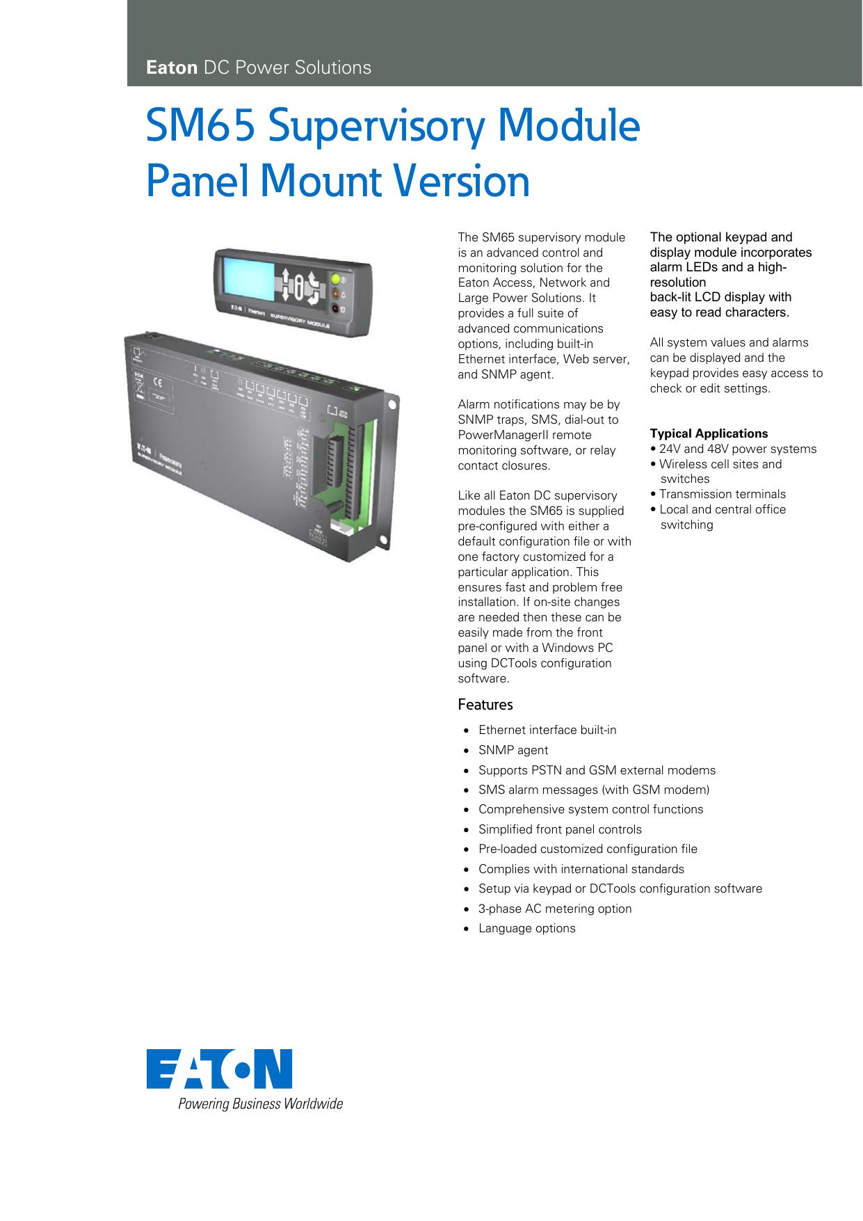 SM65 Supervisory Module Panel Mount Version | manualzz com