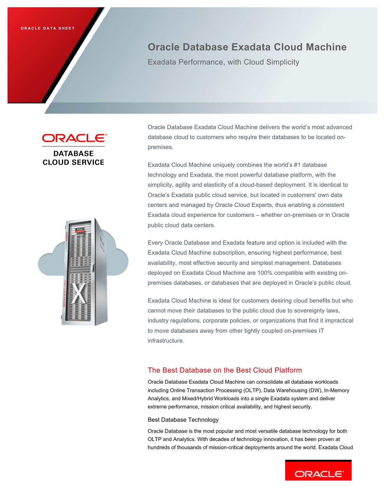 Data sheet: Oracle Database Exadata Cloud Machine   manualzz com