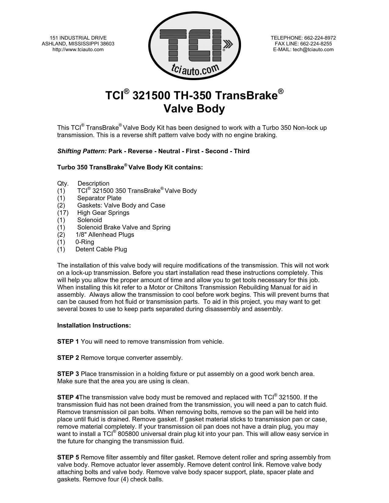 TCI® 321500 TransBrake Valve Body   manualzz com