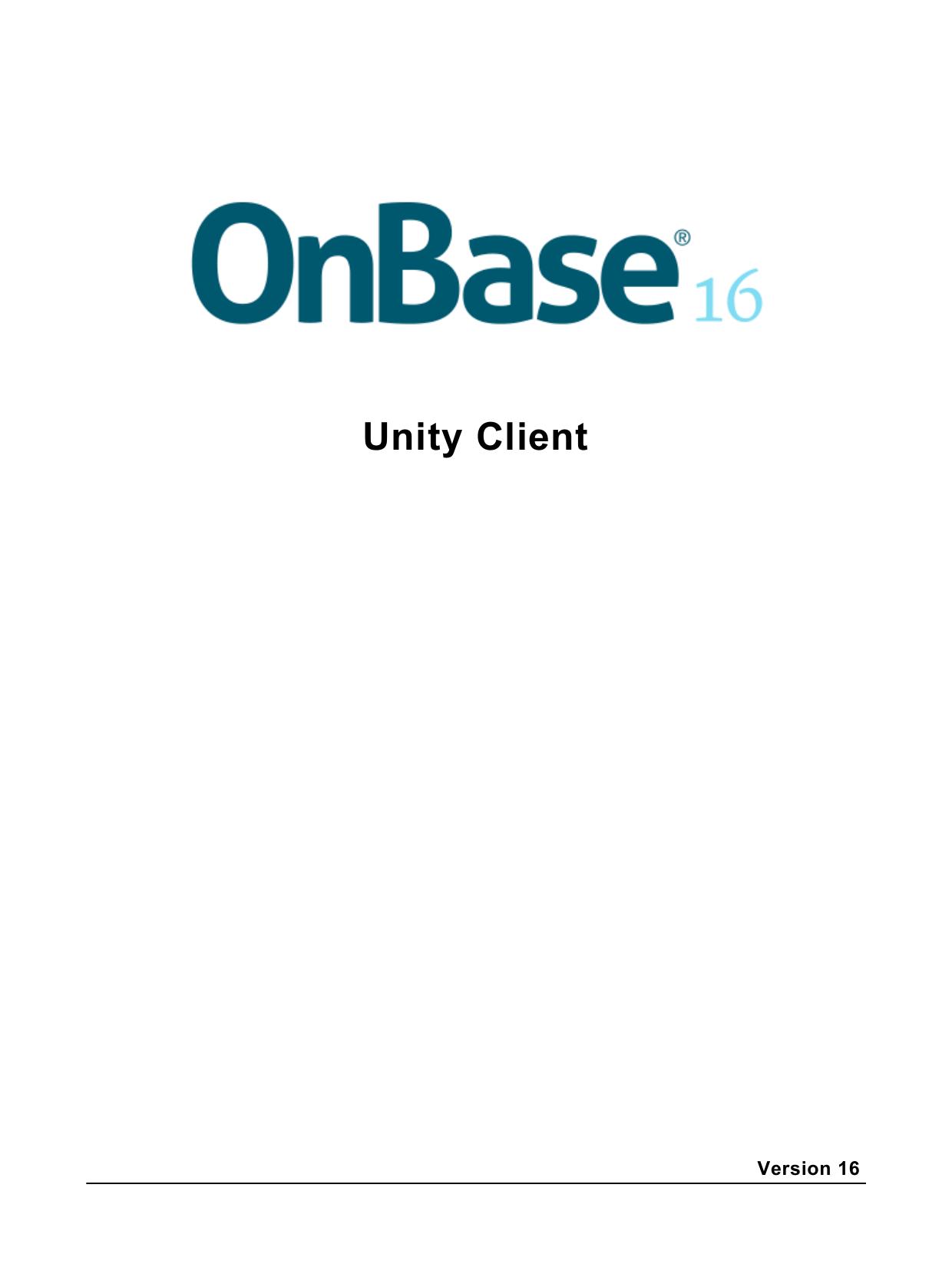 Onbase 16 Unity Client User Guide | manualzz com