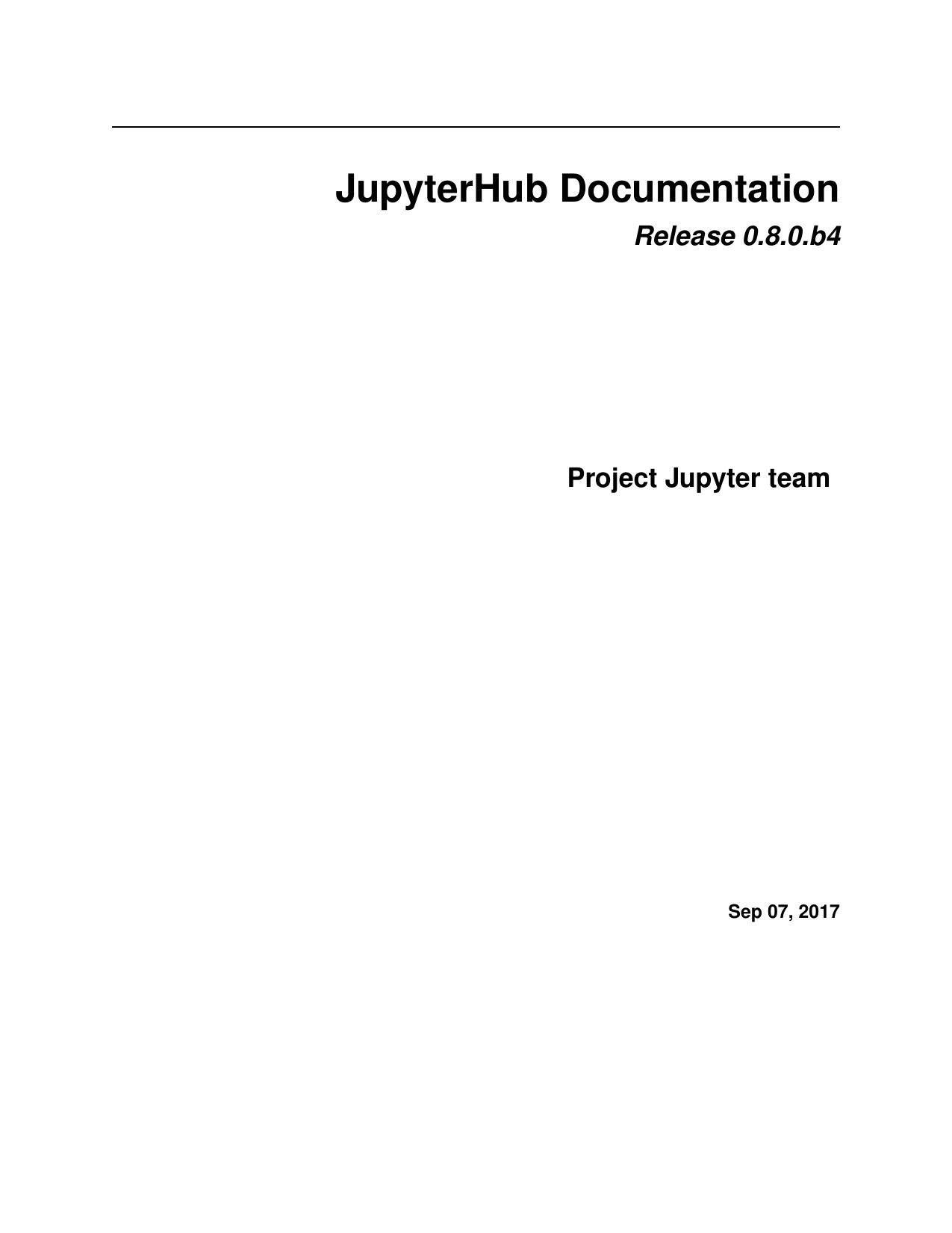 JupyterHub Documentation | manualzz com