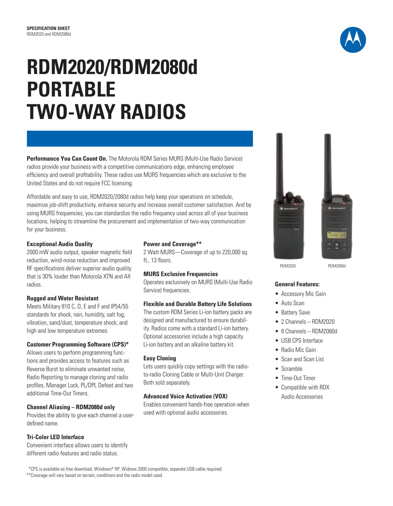 RDM2020/RDM2080d PORTABLE TWO-WAY   manualzz com