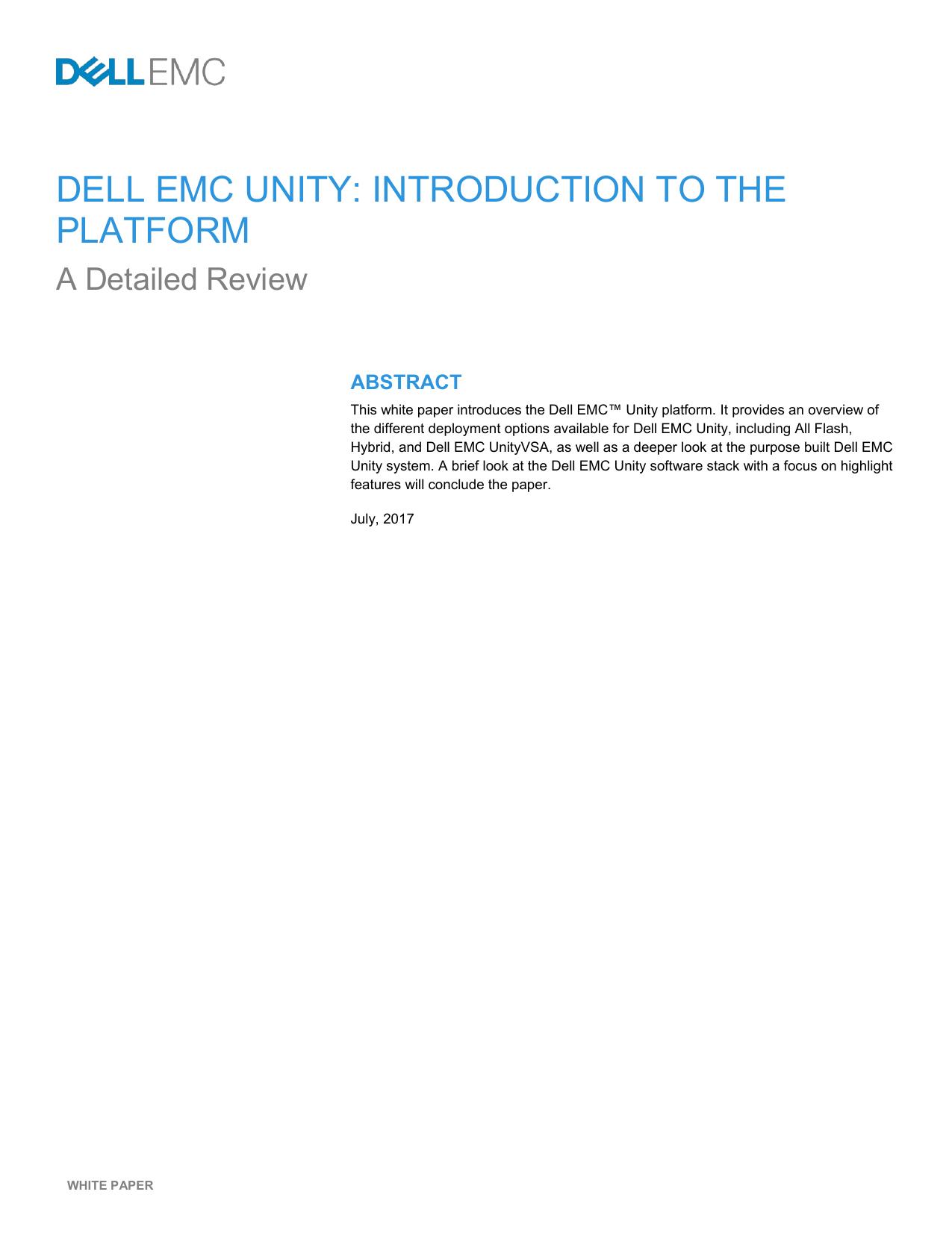 Dell EMC Unity: Introduction to the Platform | manualzz com
