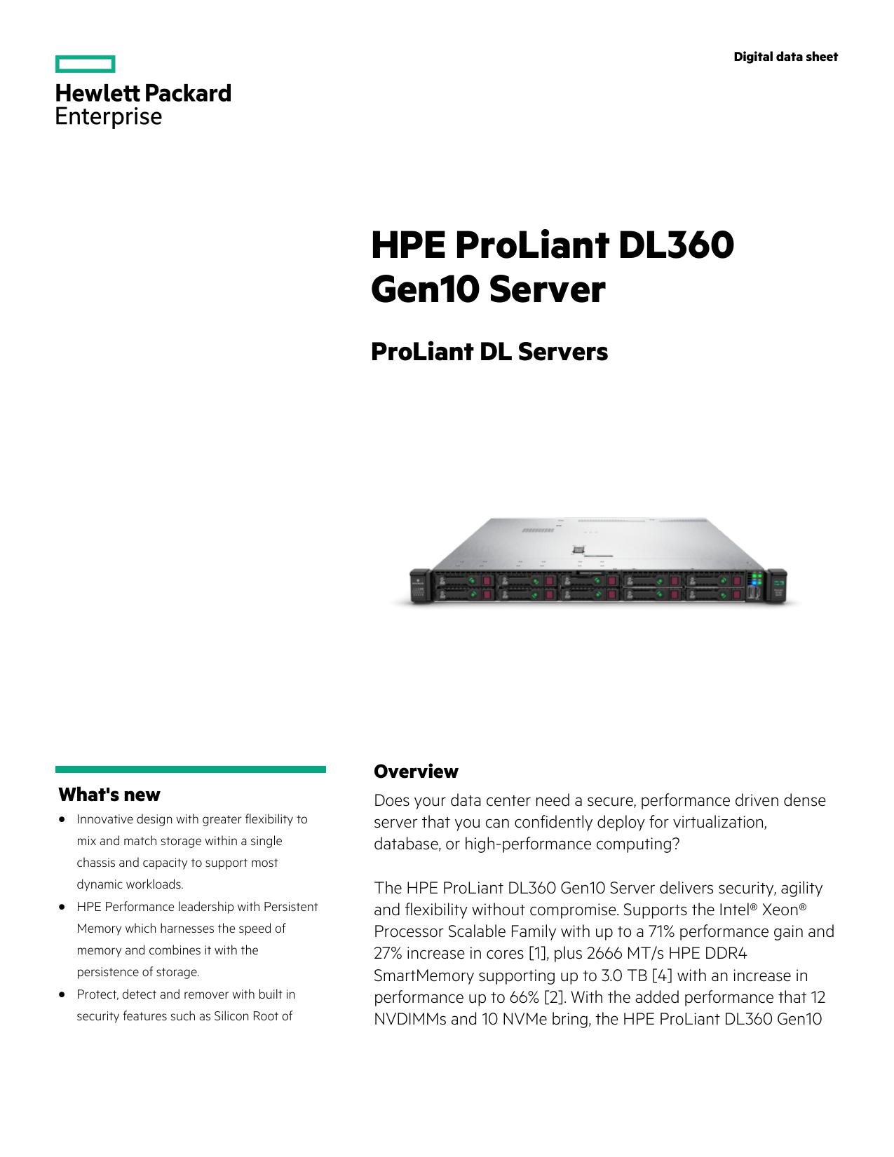 HPE ProLiant DL360 Gen10 Server Digital data sheet | manualzz com