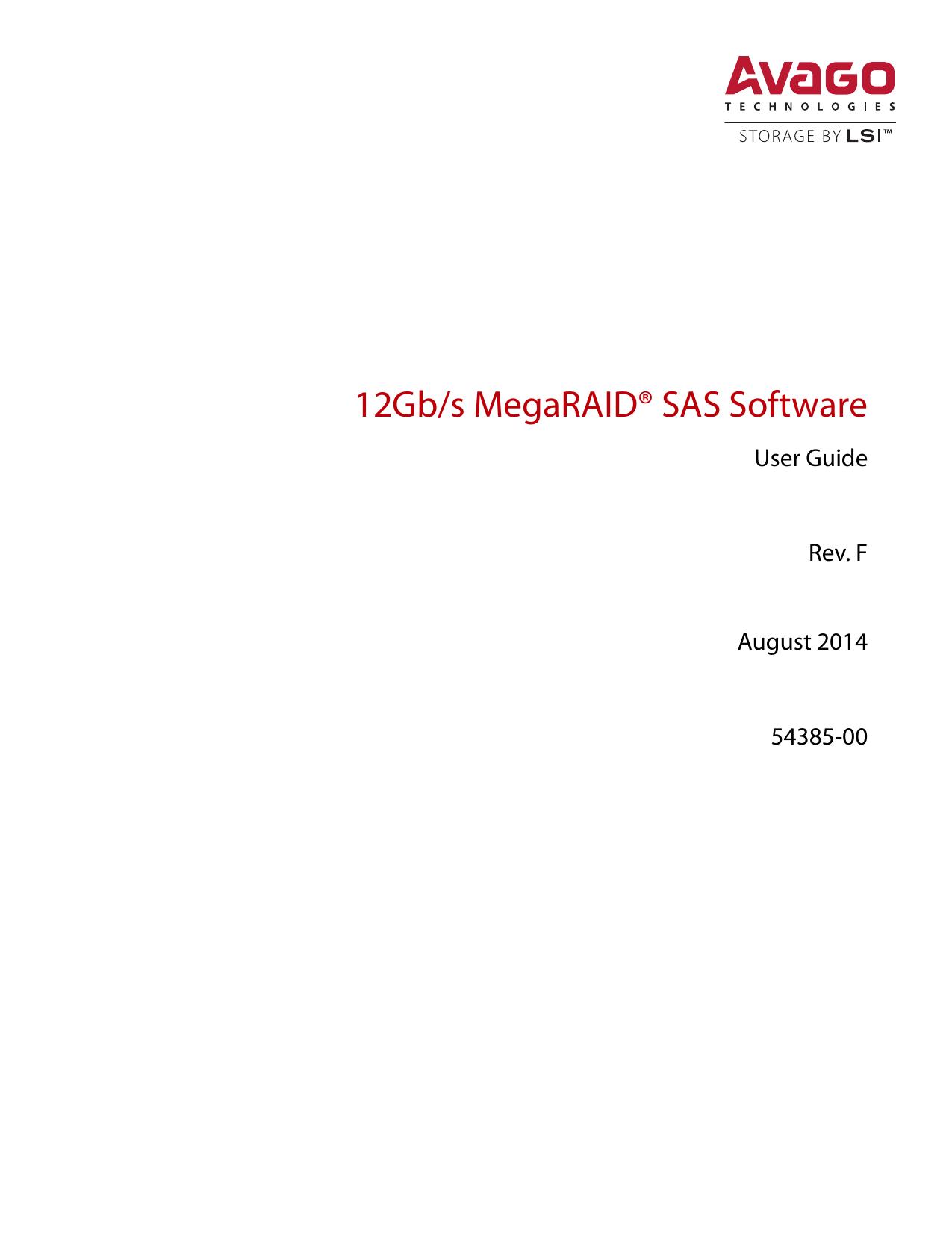 Avago Technologies/LSI 12 Gb/s MegaRAID SAS Software