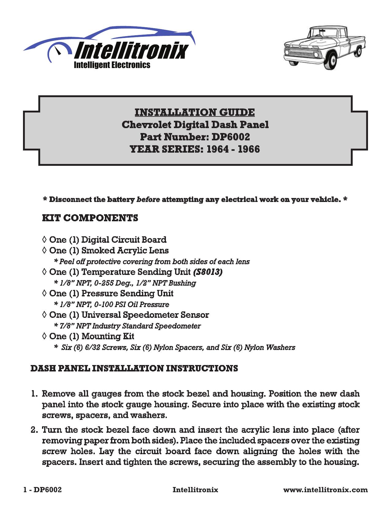 [SCHEMATICS_48IU]  INSTALLATION GUIDE Chevrolet Digital Dash Panel Part   Manualzz   Intellitronix Wiring Diagram      manualzz