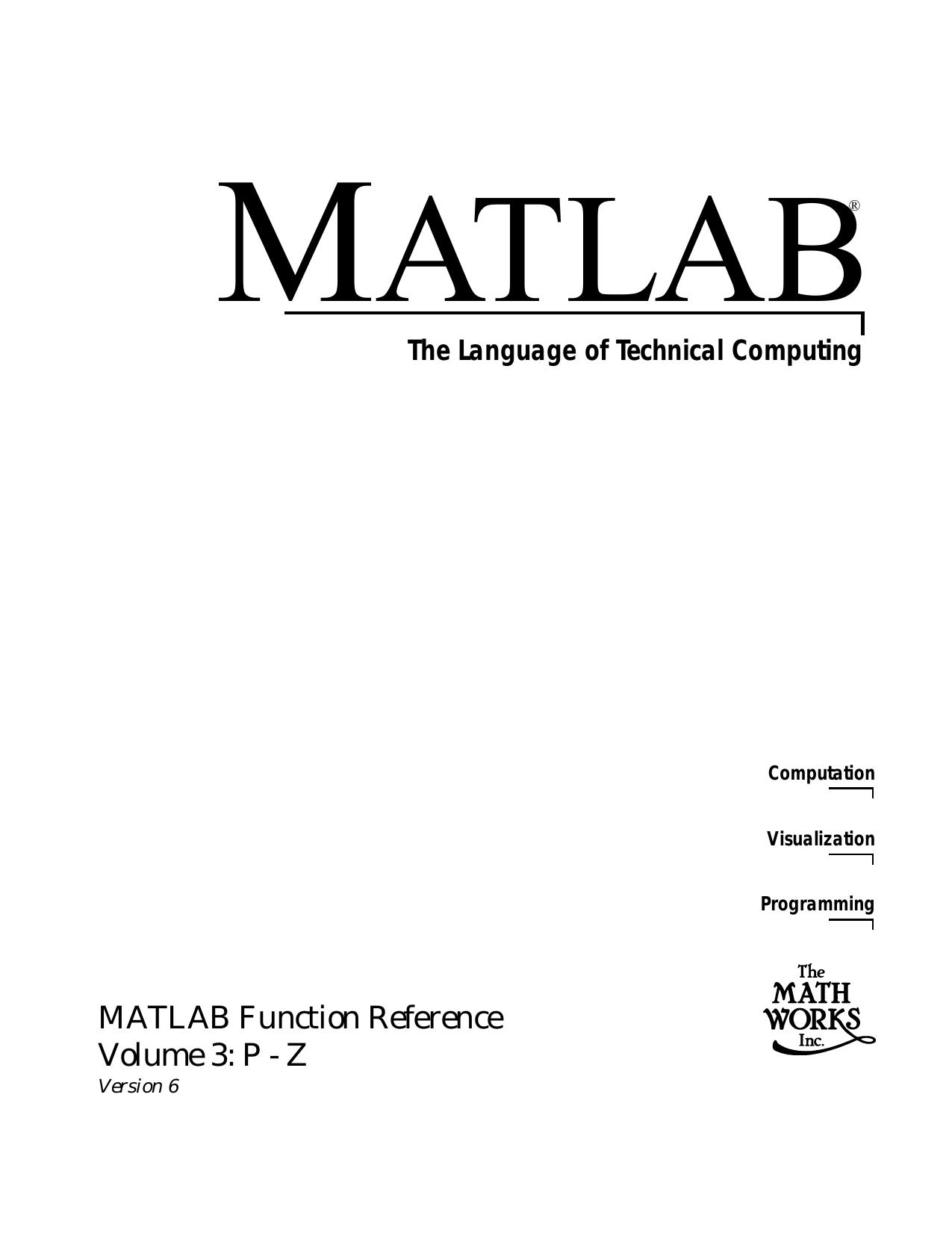 MATLAB Function Reference Volume 3: P | manualzz com
