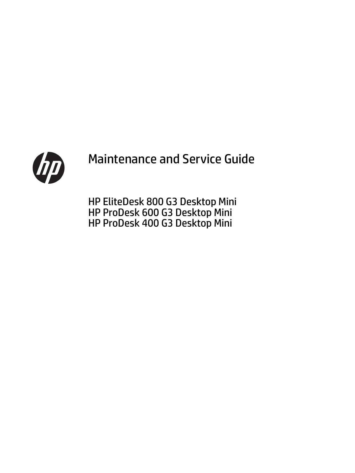 HP EliteDesk 800 65W G3 Desktop Mini PC User manual