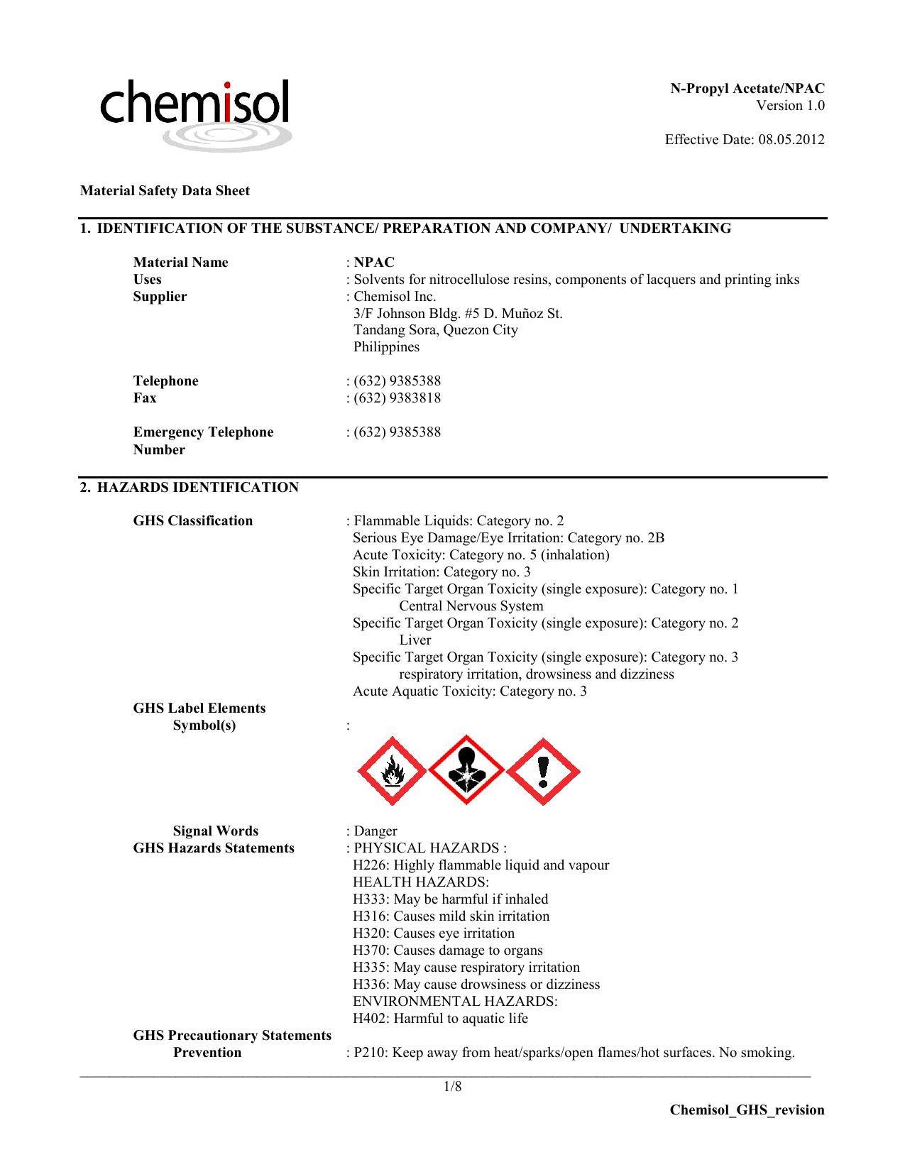 Chemisol_GHS_revision N-Propyl Acetate/NPAC Version 1 0
