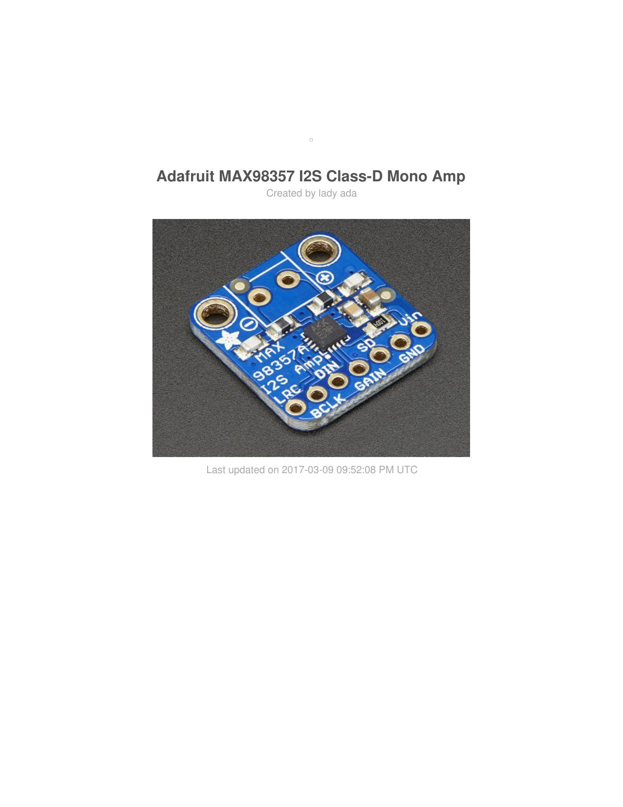 Adafruit MAX98357 I2S Class | manualzz com