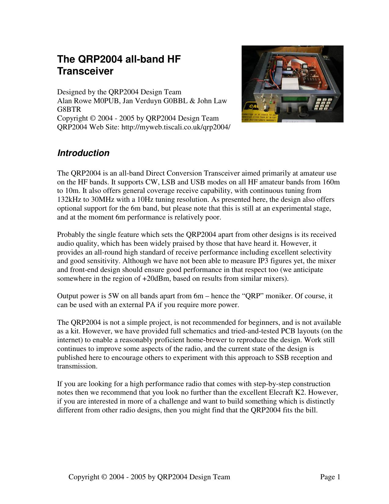 The QRP2004 all-band HF Transceiver | manualzz com