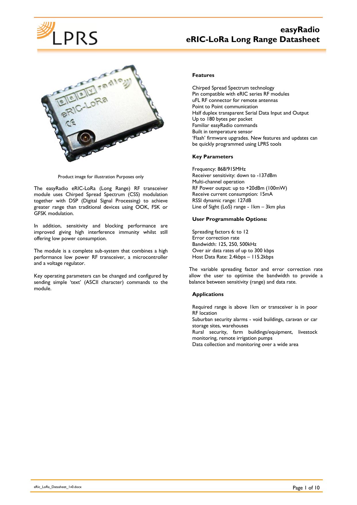 easyRadio eRIC-LoRa Long Range Datasheet | manualzz com