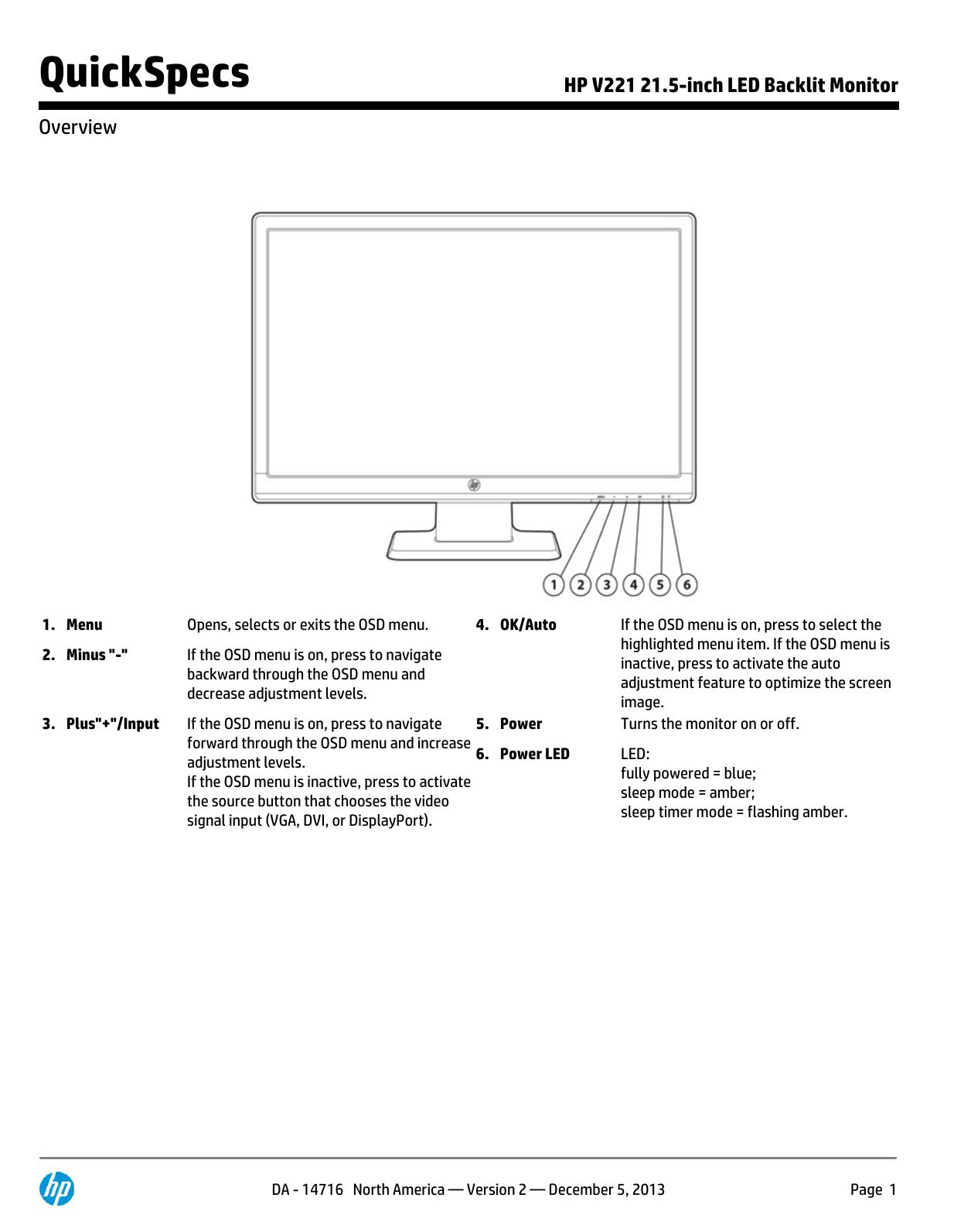 HP V221 21 5-inch LED Backlit Monitor   manualzz com