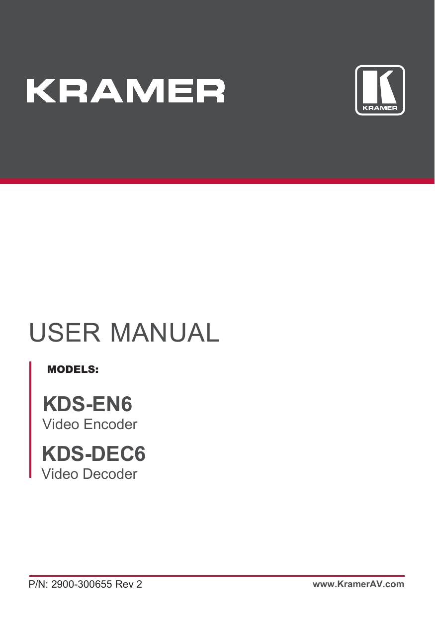 KDS-EN6, KDS-DEC6 - Kramer Electronics | manualzz com