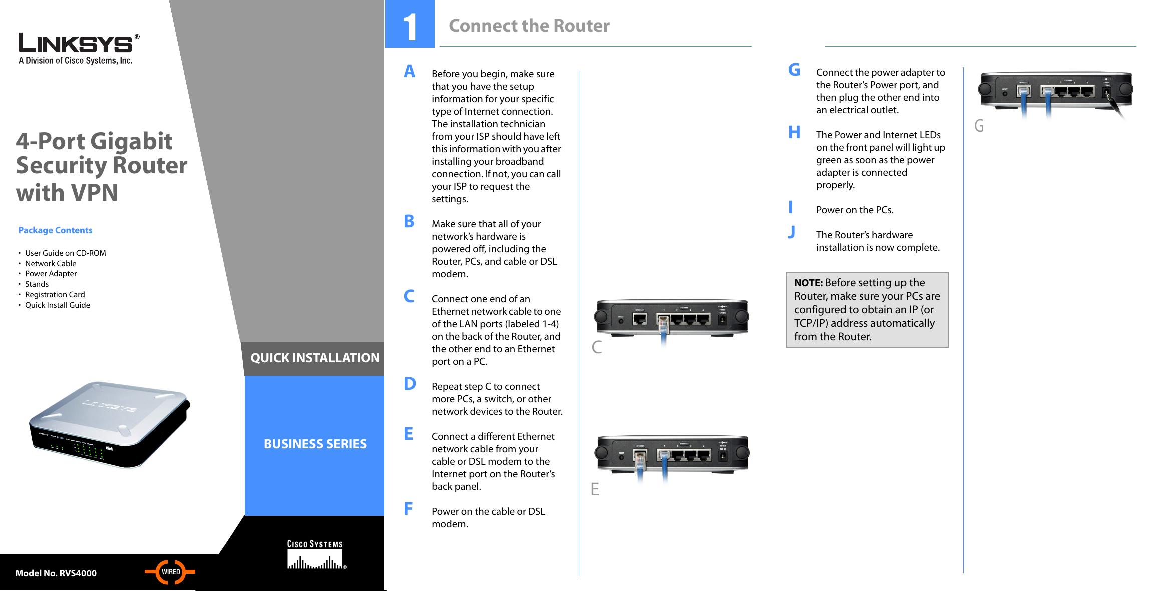 cisco rvs4000 4 port gigabit security router with vpn quick start rh manualzz com Linksys WRT54G Linksys WRT54GL
