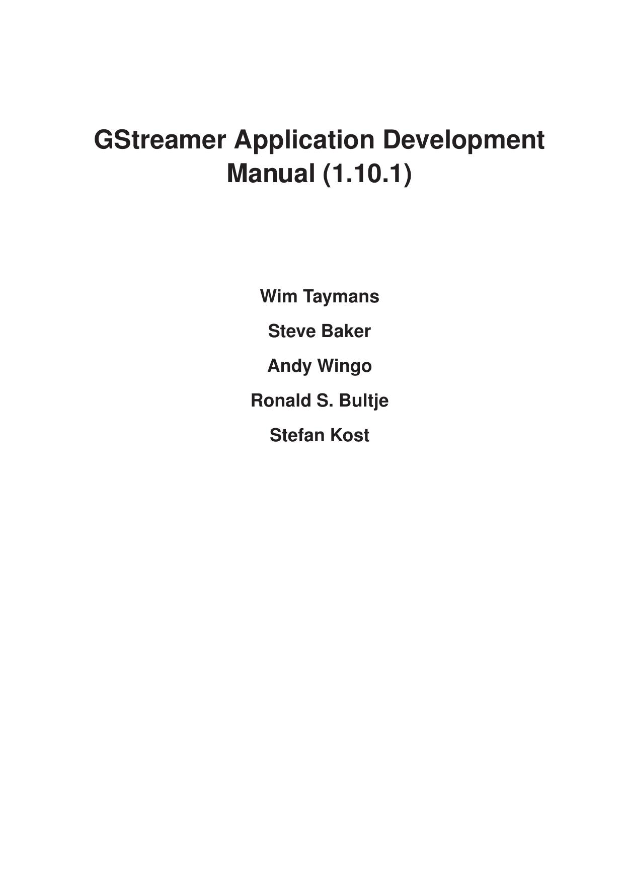 GStreamer Application Development Manual (1 10 1) | manualzz com