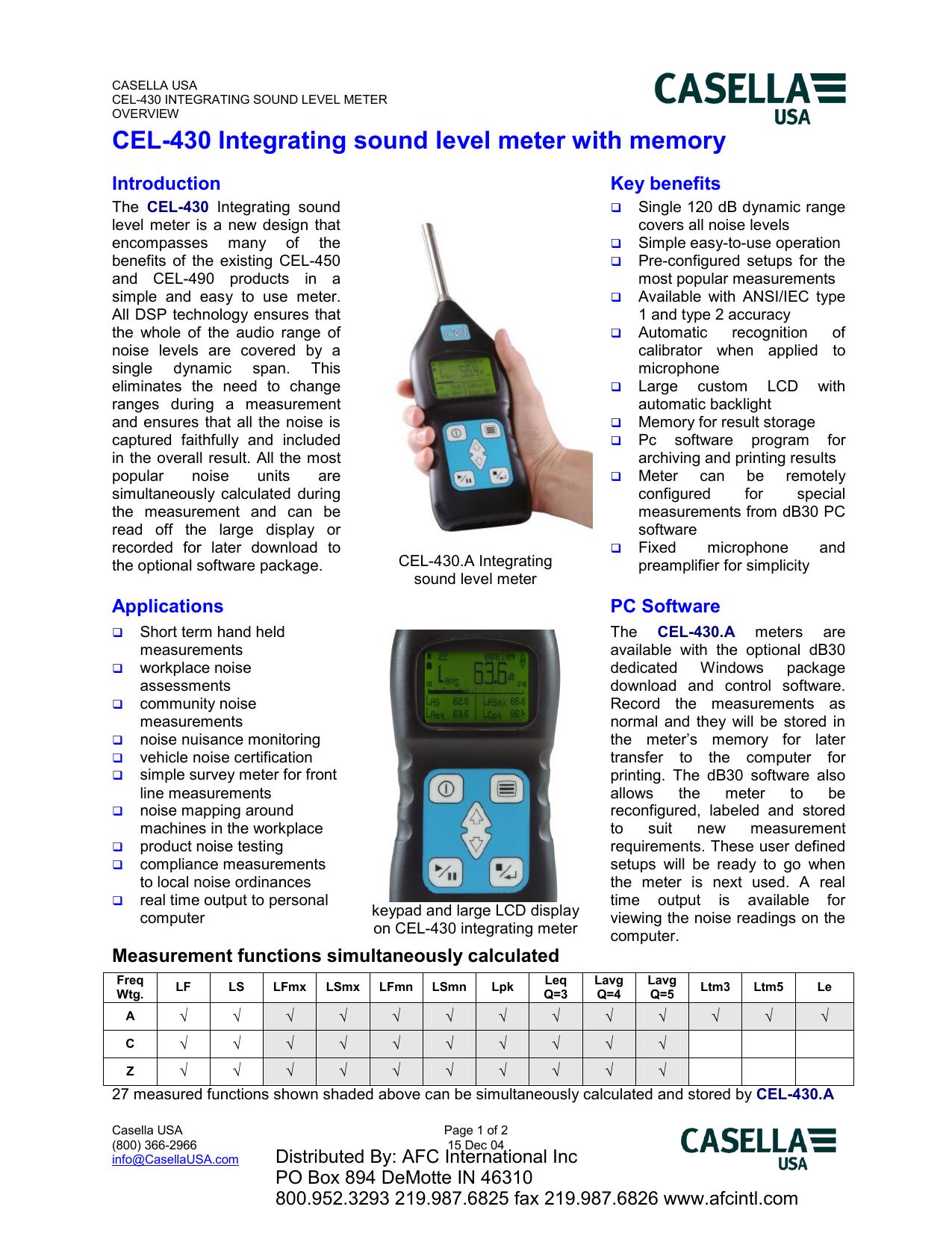 Digital Integrating Sound Level Meter Kit Casella CEL-244//K1