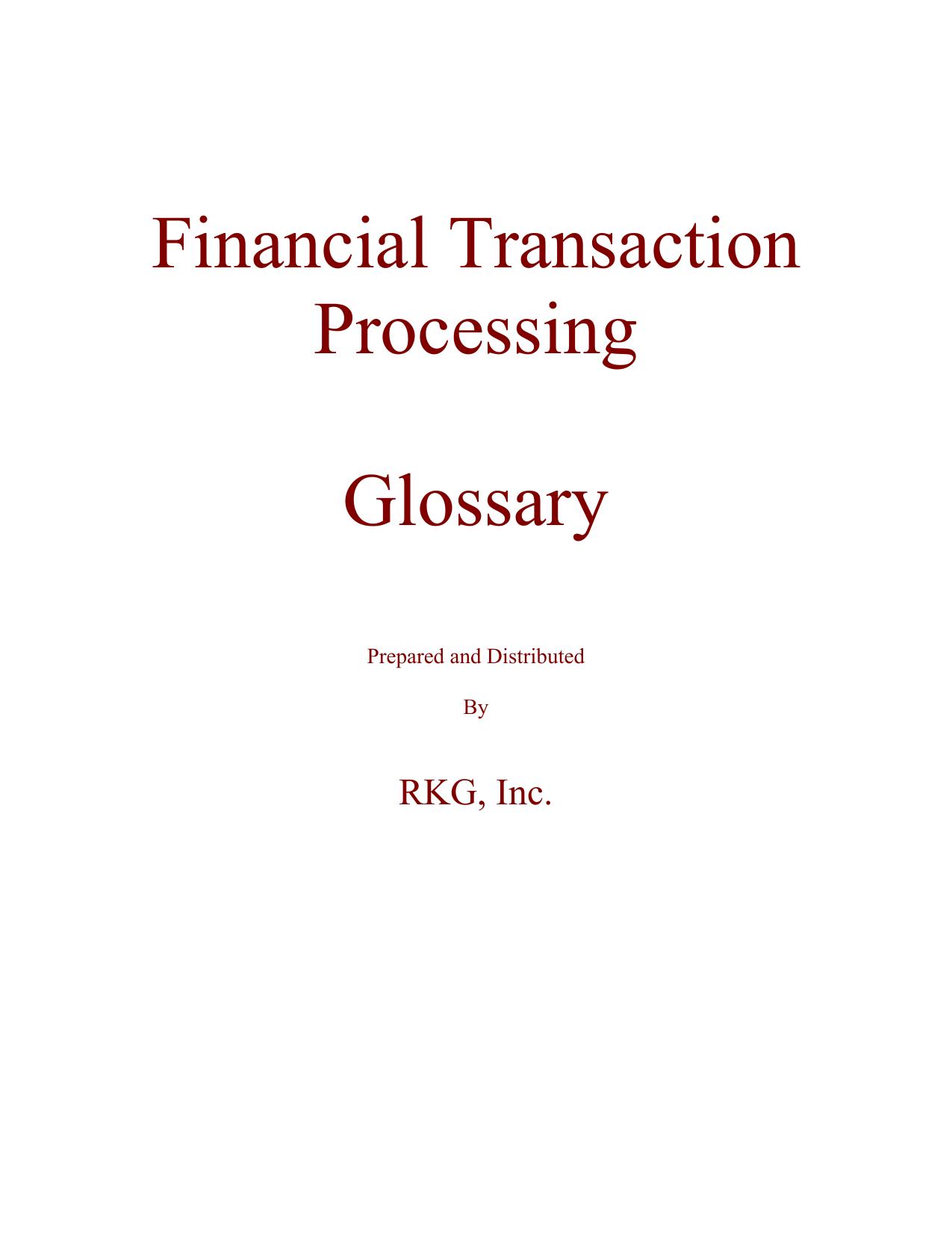 Financial Transaction Processing Glossary | manualzz com