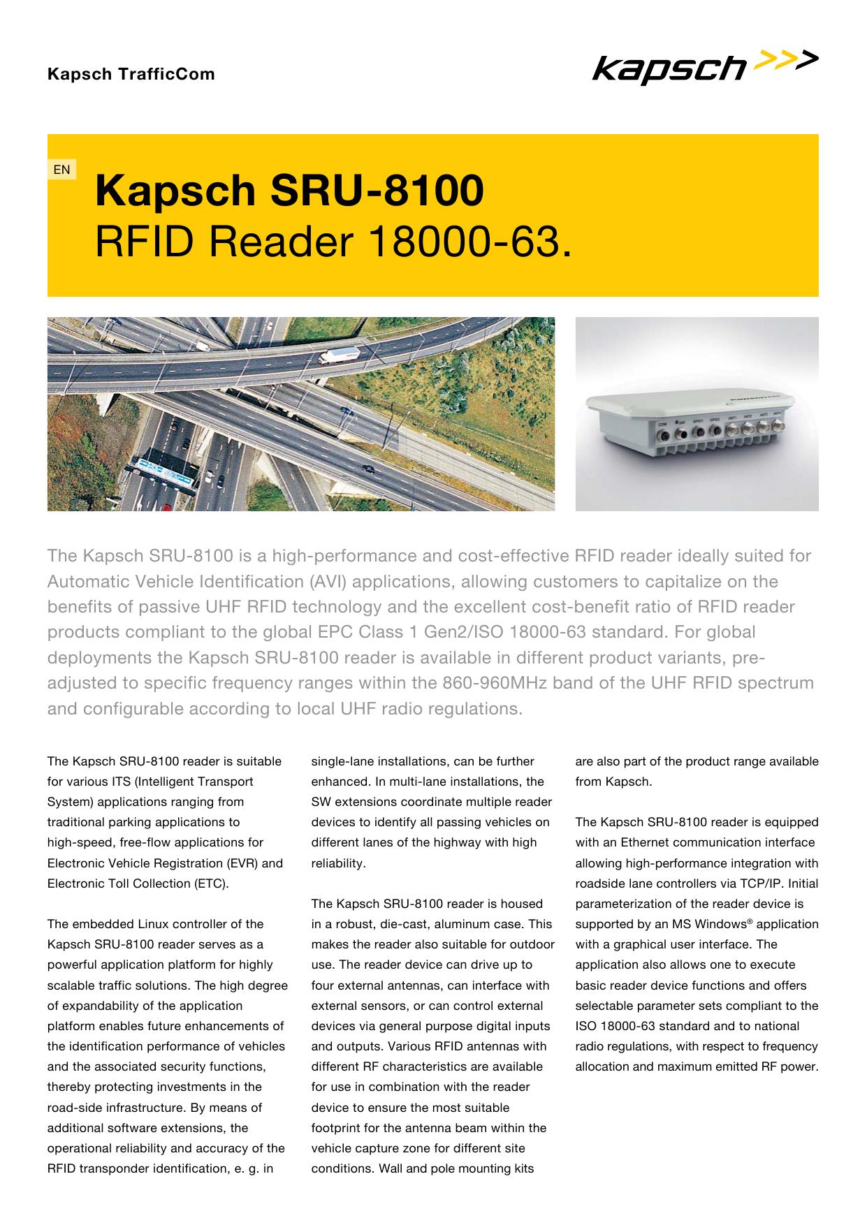 SRU-8100 RFID Reader 18000-63   manualzz com