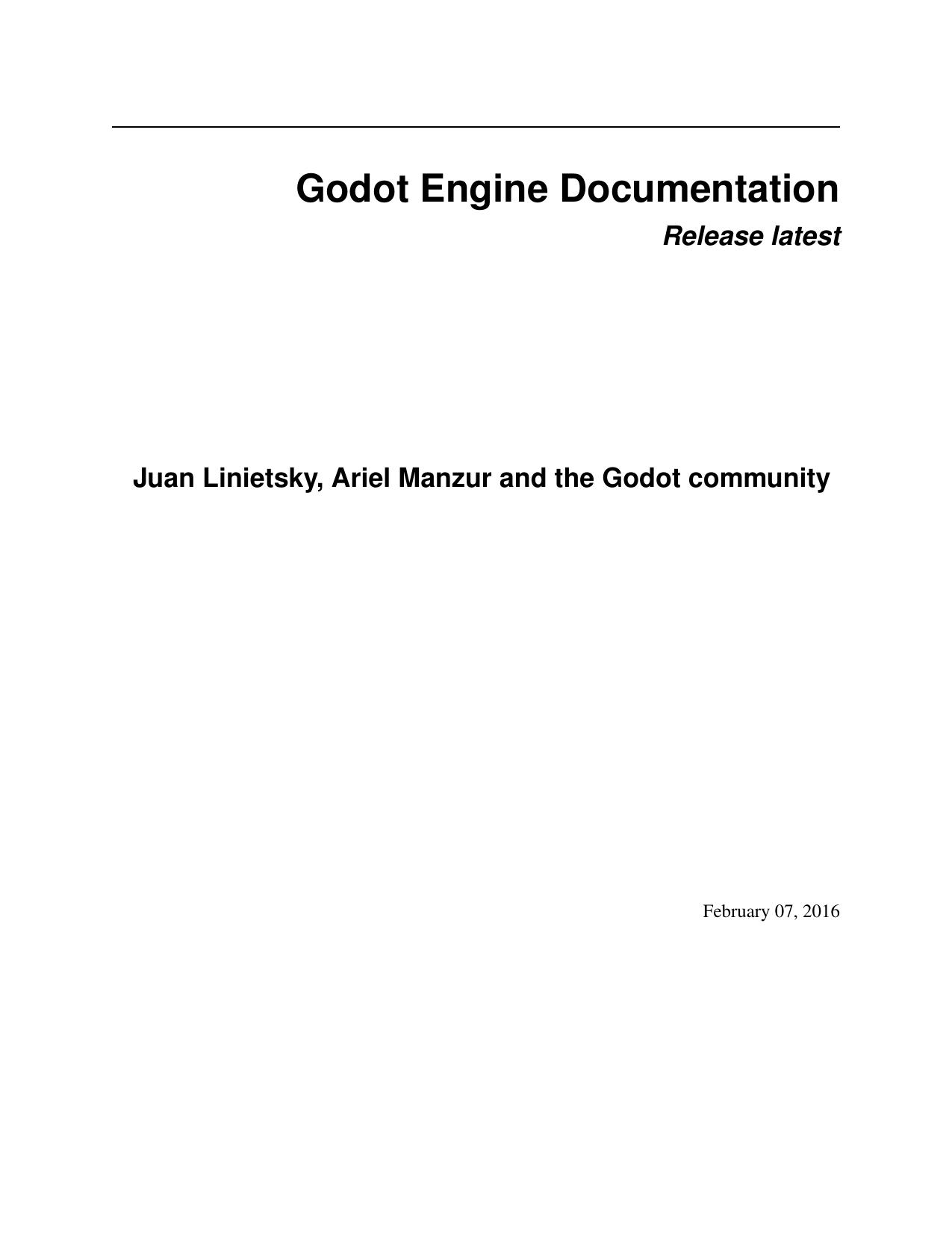 Godot Engine Documentation | manualzz com
