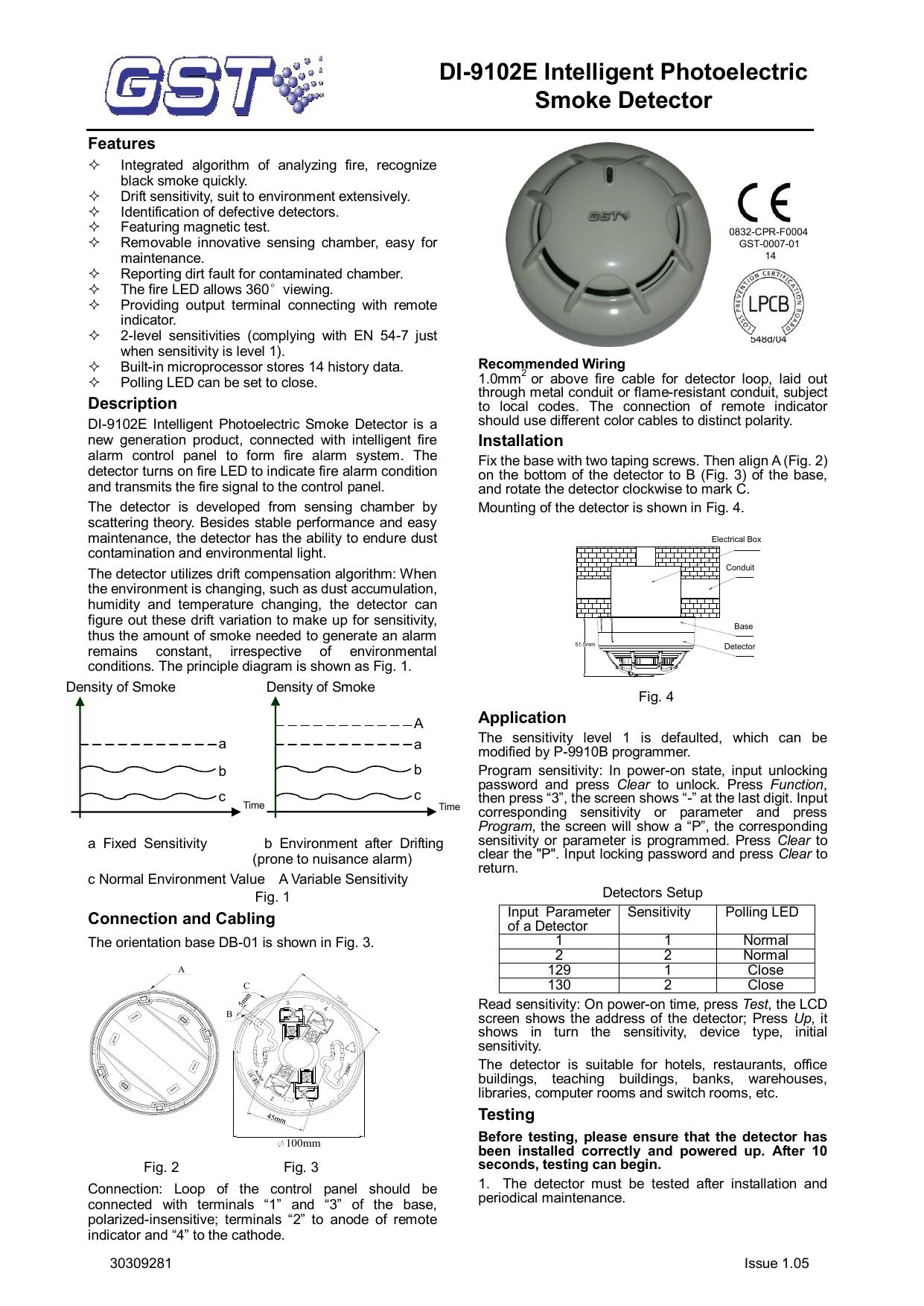 Di 9102e Intelligent Photoelectric Smoke Detector Manualzz