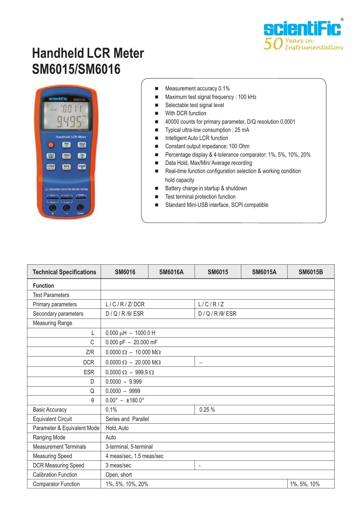 Handheld Lcr Meter Sm6015 Sm6016 Scientific Mes Q