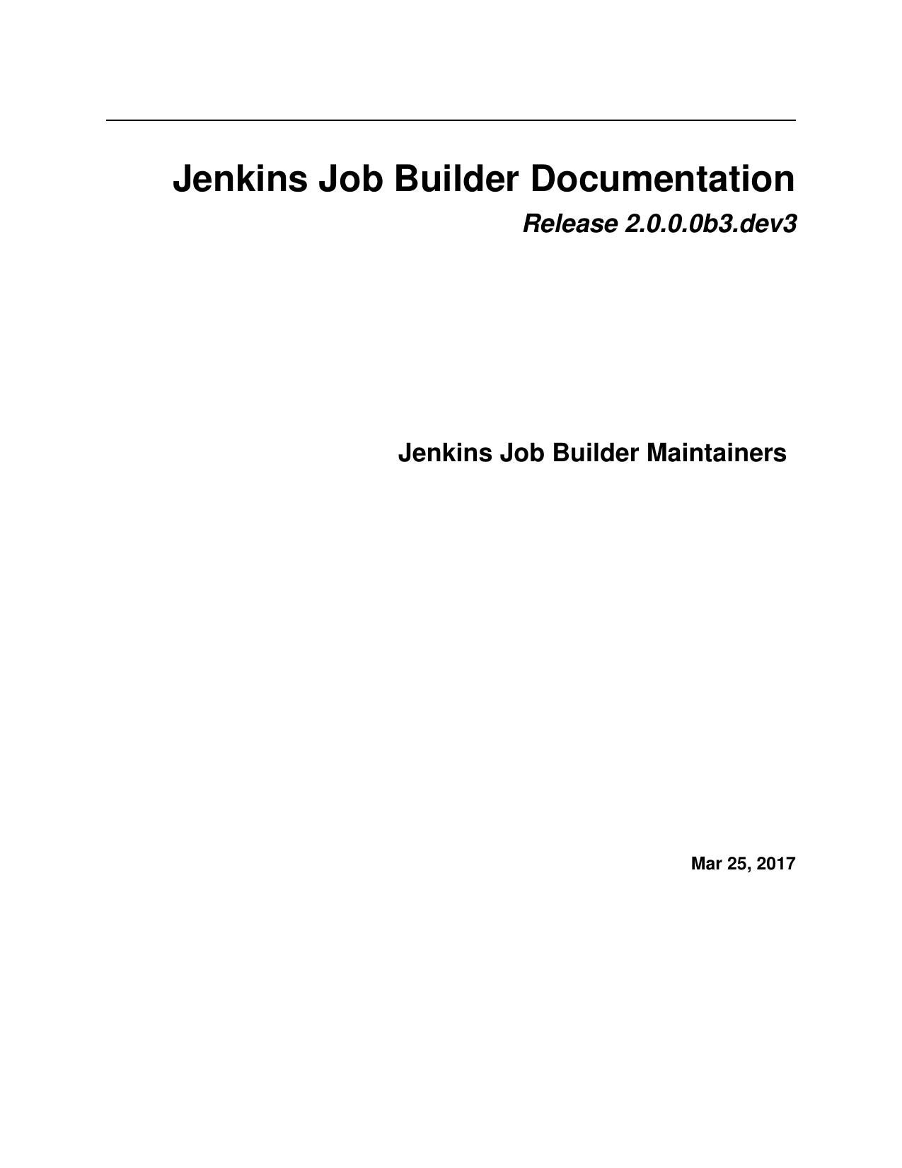 Jenkins Job Builder Documentation | manualzz com