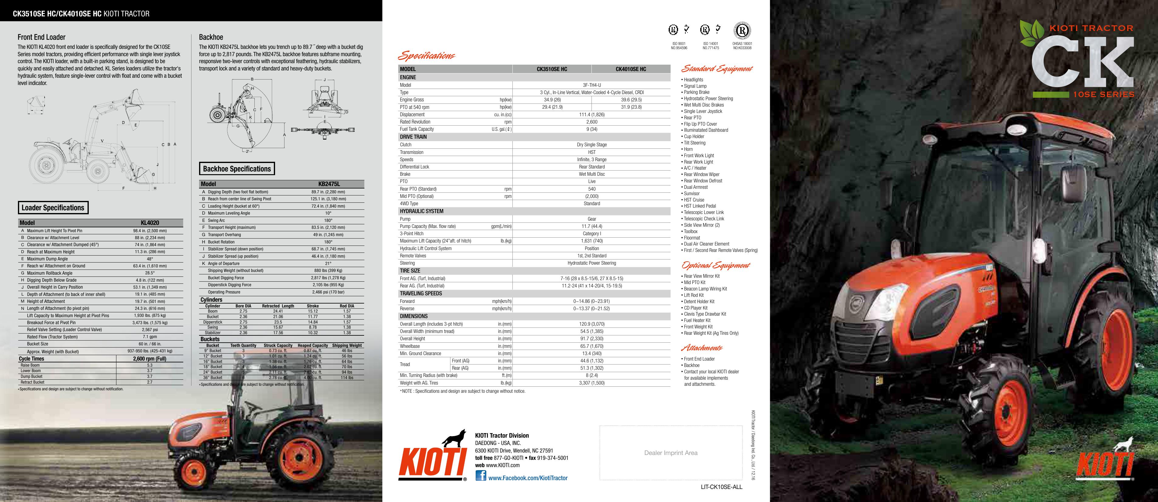 Equipment quipment ts KIOTI TRACTOR | manualzz com