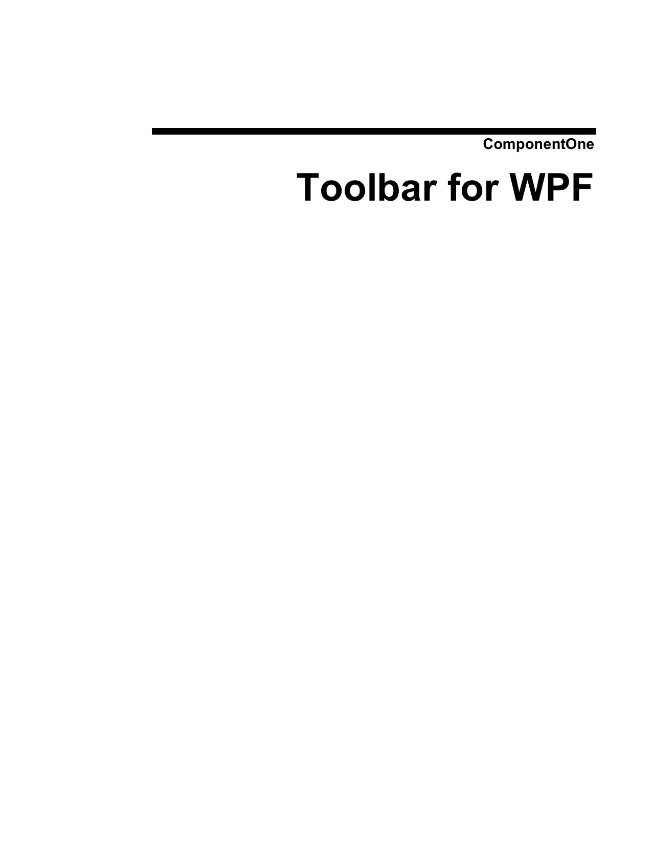 ComponentOne Toolbar for WPF | manualzz com