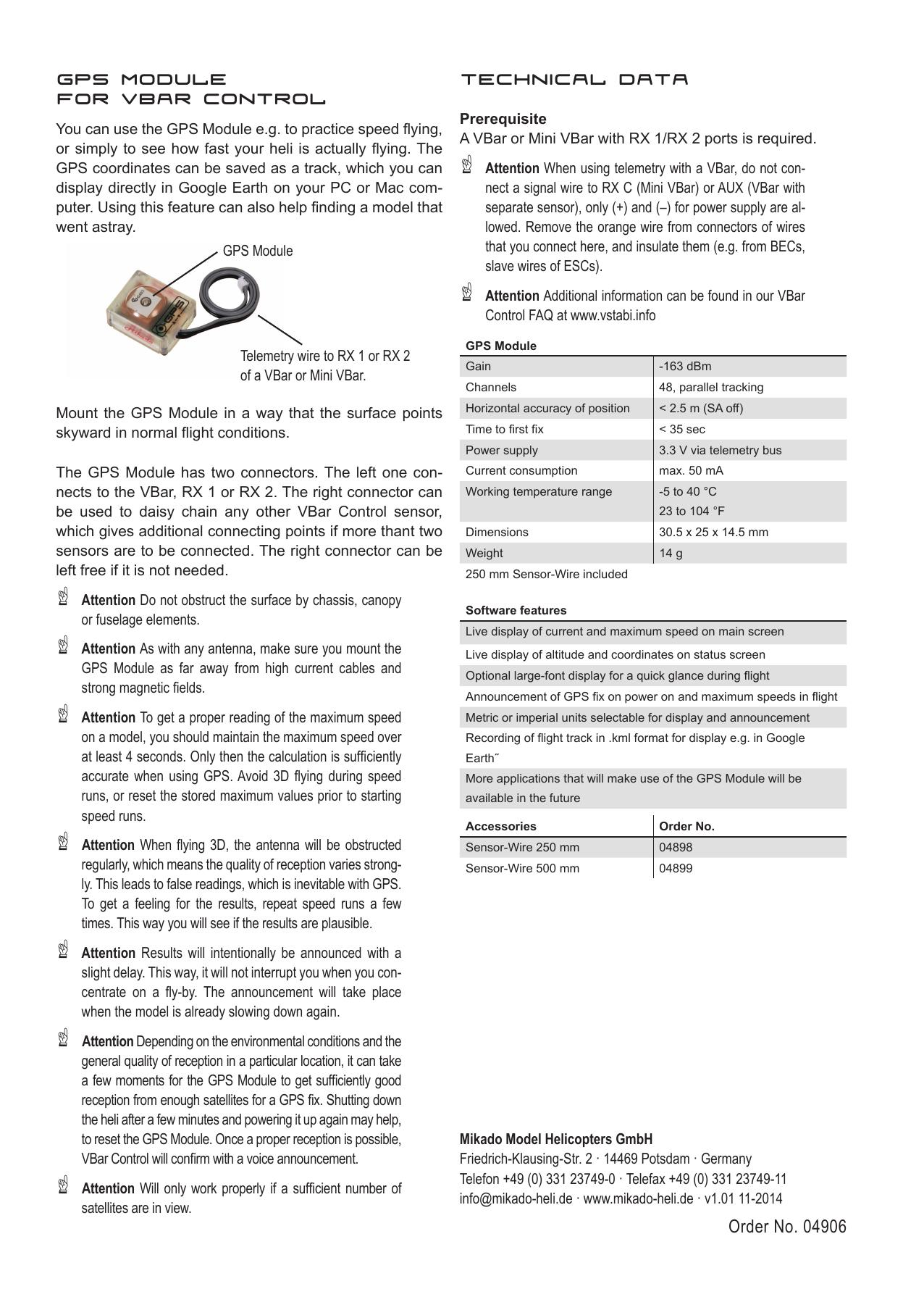 VBar Control GPS Sensor indd - Mikado-heli   manualzz com