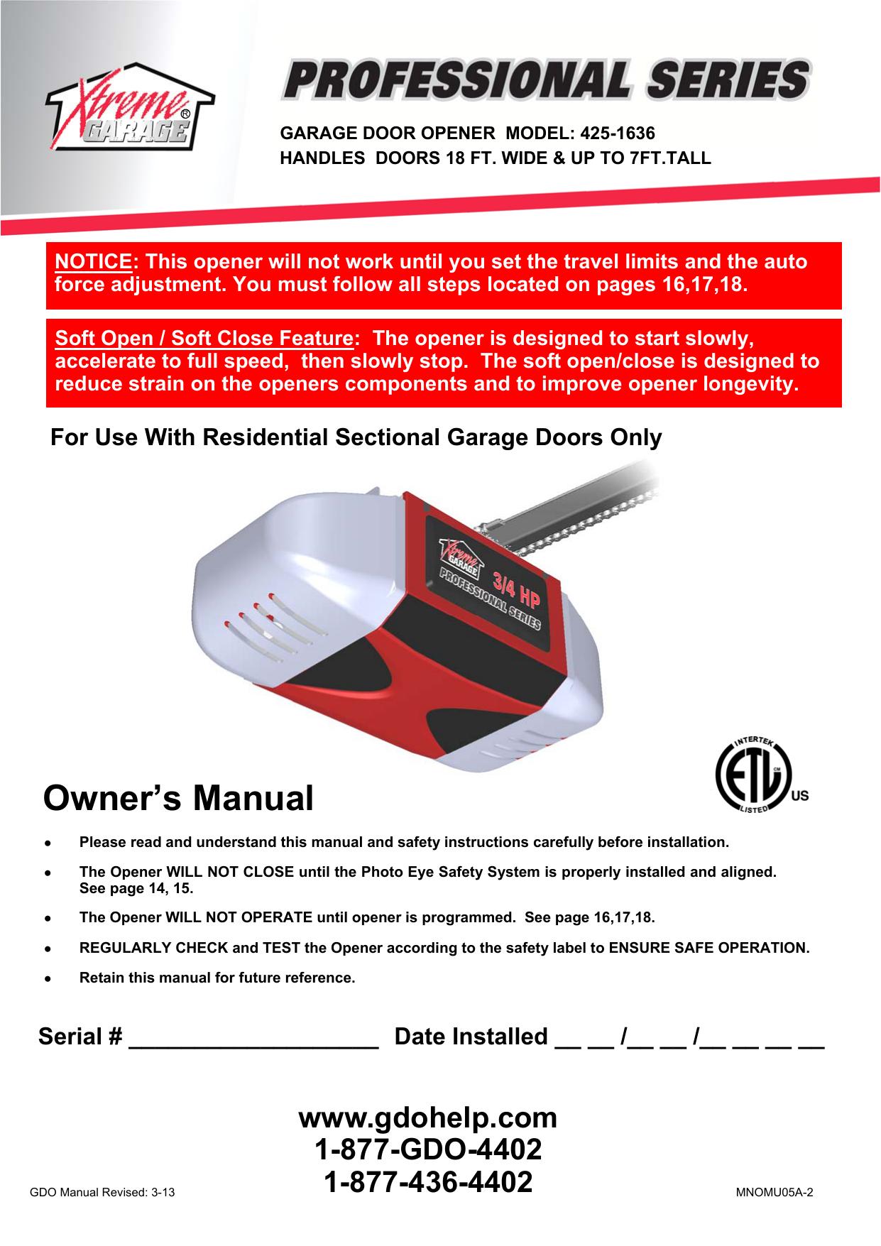 Owner S Manual Xtreme Garage Manualzz